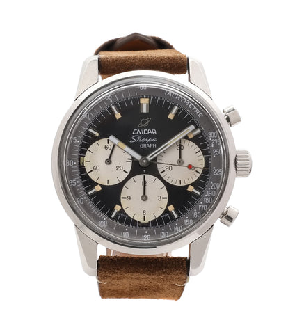buy Enicar Sherpa Graph Jim Clark Chronograph 300 1962 steel vintage sports watch at A Collected Man London