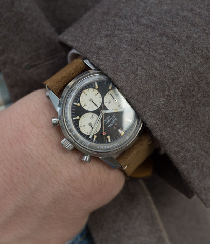 buy Enicar Sherpa Graph Jim Clark Chronograph 300 1962 steel vintage sports wristwatch at A Collected Man London
