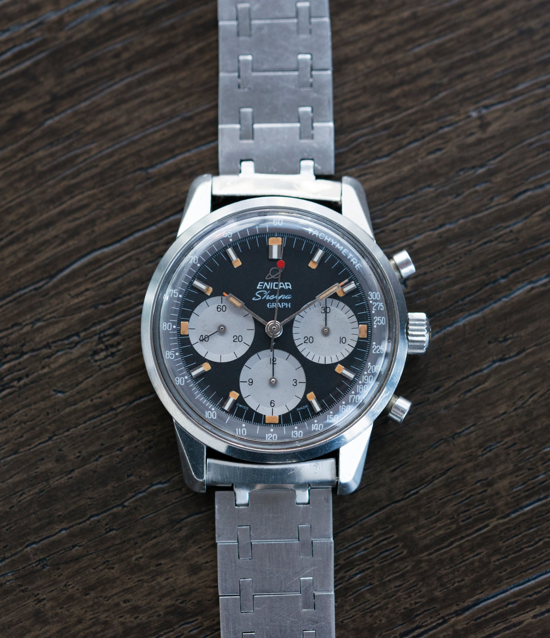 buying vintage Enicar Sherpa Graph 300 MKIII Jim Clark steel chronograph watch at A Collected Man London UK specialist of rare watches