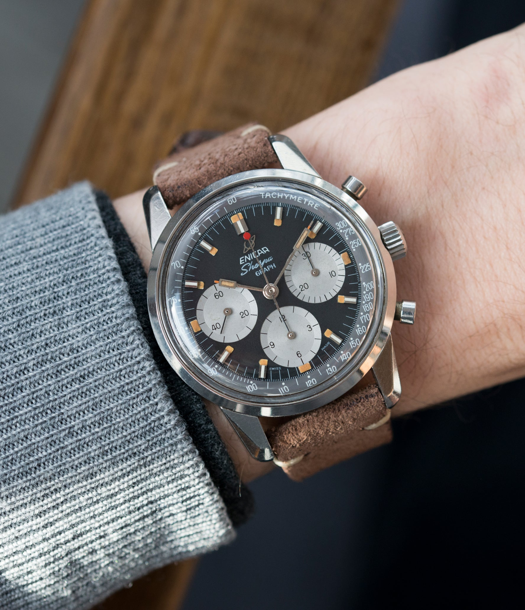 on the wrist vintage Enicar Sherpa Graph 300 MKIII Jim Clark steel chronograph watch at A Collected Man London UK specialist of rare watches