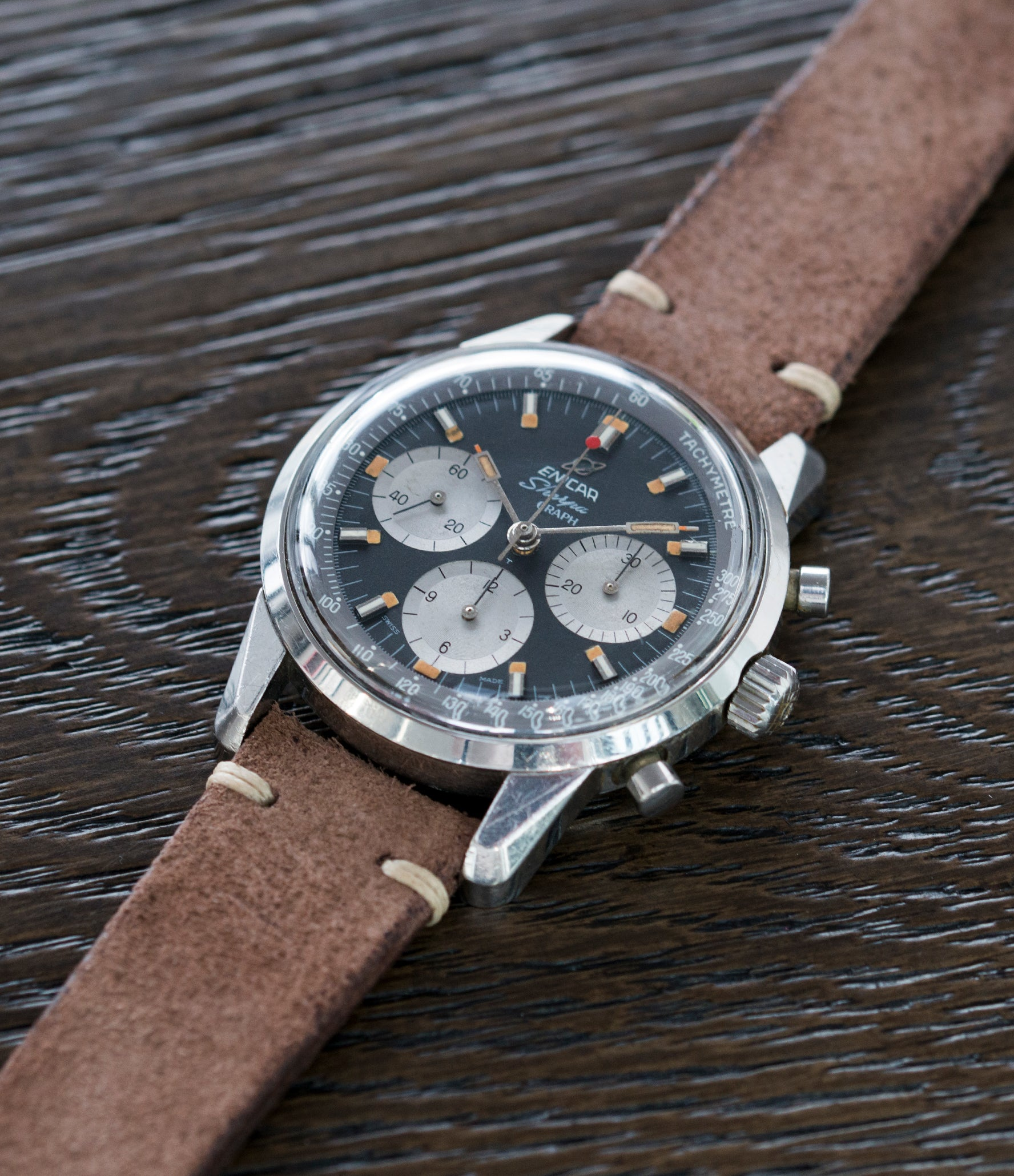Jim Clark's Sherpa Graph 300 Enicar MKIII steel vintage chronograph watch at A Collected Man London UK specialist of rare watches