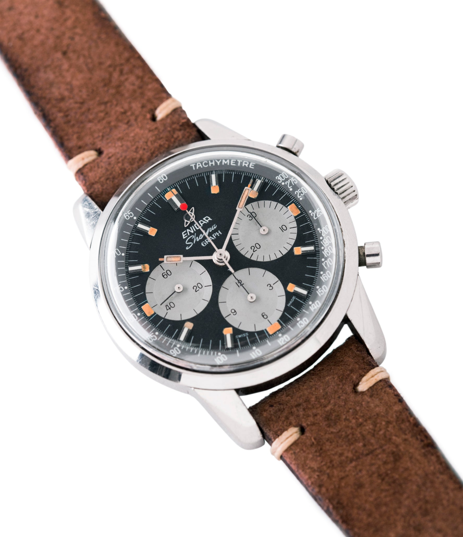 selling vintage Enicar Sherpa Graph 300 MKIII Jim Clark steel chronograph watch at A Collected Man London UK specialist of rare watches