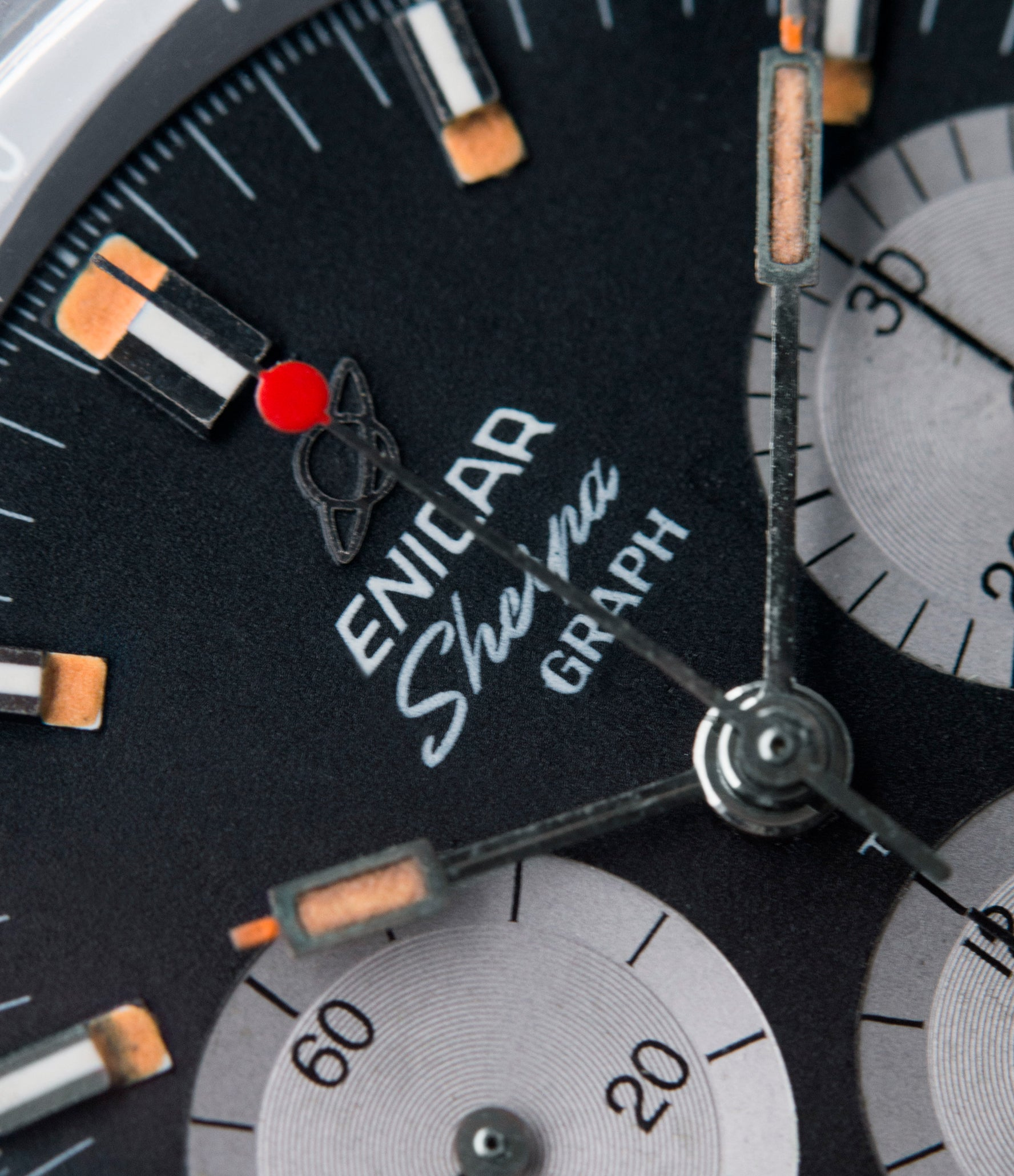 072-02-01 Jim Clark Sherpa Graph 300 Enicar MKIII black dial steel vintage chronograph watch at A Collected Man London UK specialist of rare watches