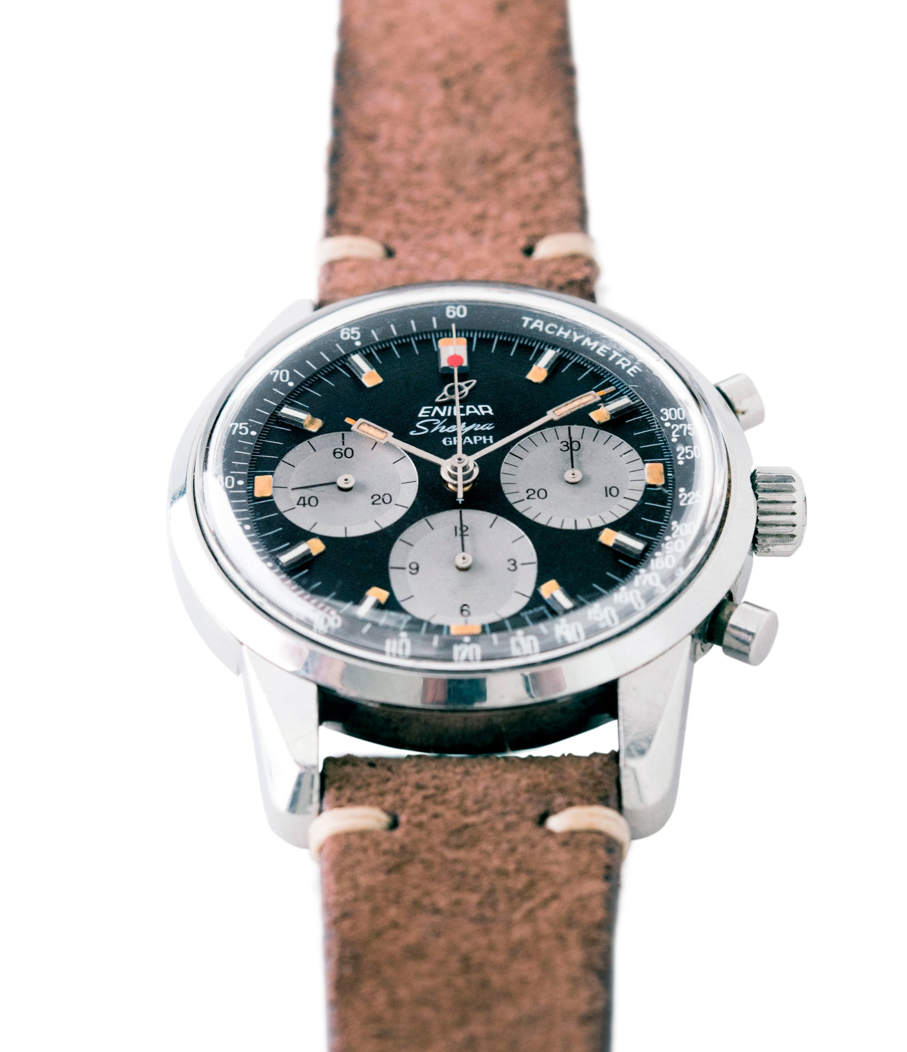 for sale vintage Enicar Sherpa Graph 300 MKIII Jim Clark steel chronograph watch at A Collected Man London UK specialist of rare watches