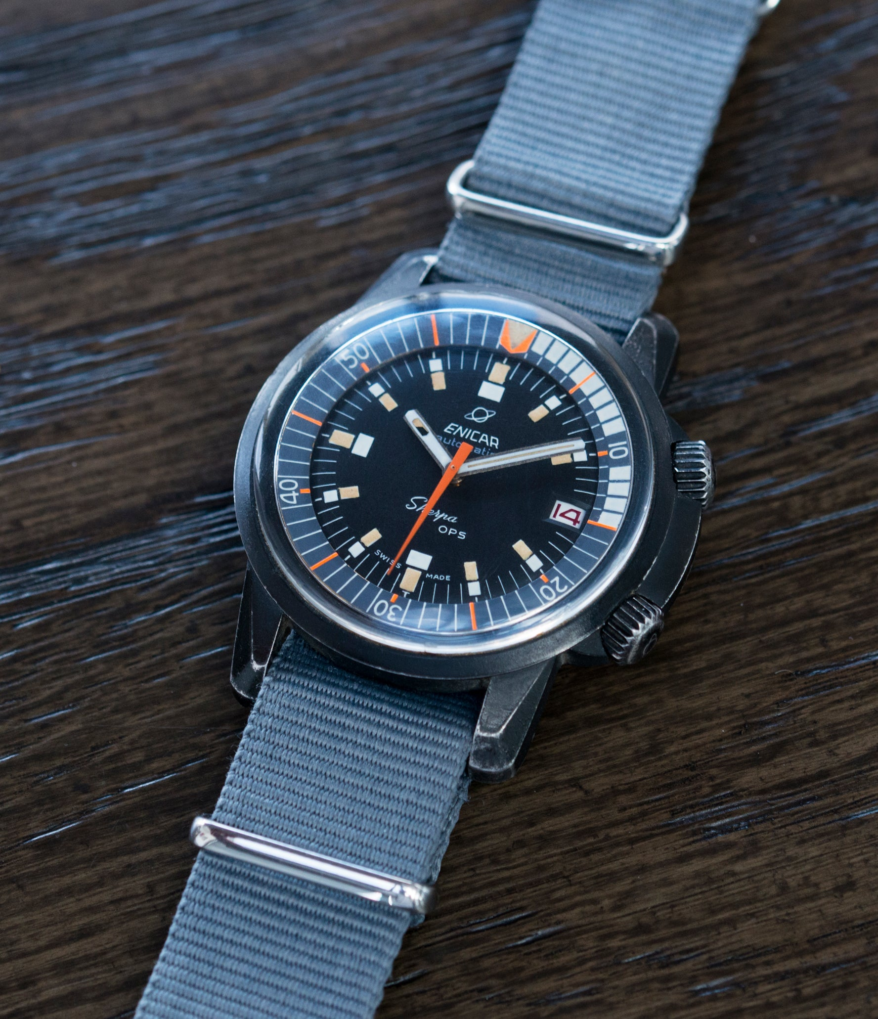 Sherpa OPS 144/35/03A Enicar 600 Mark 2 automatic AAR 167 diver watch for sale online at A Collected Man London UK specialist of rare vintage watches