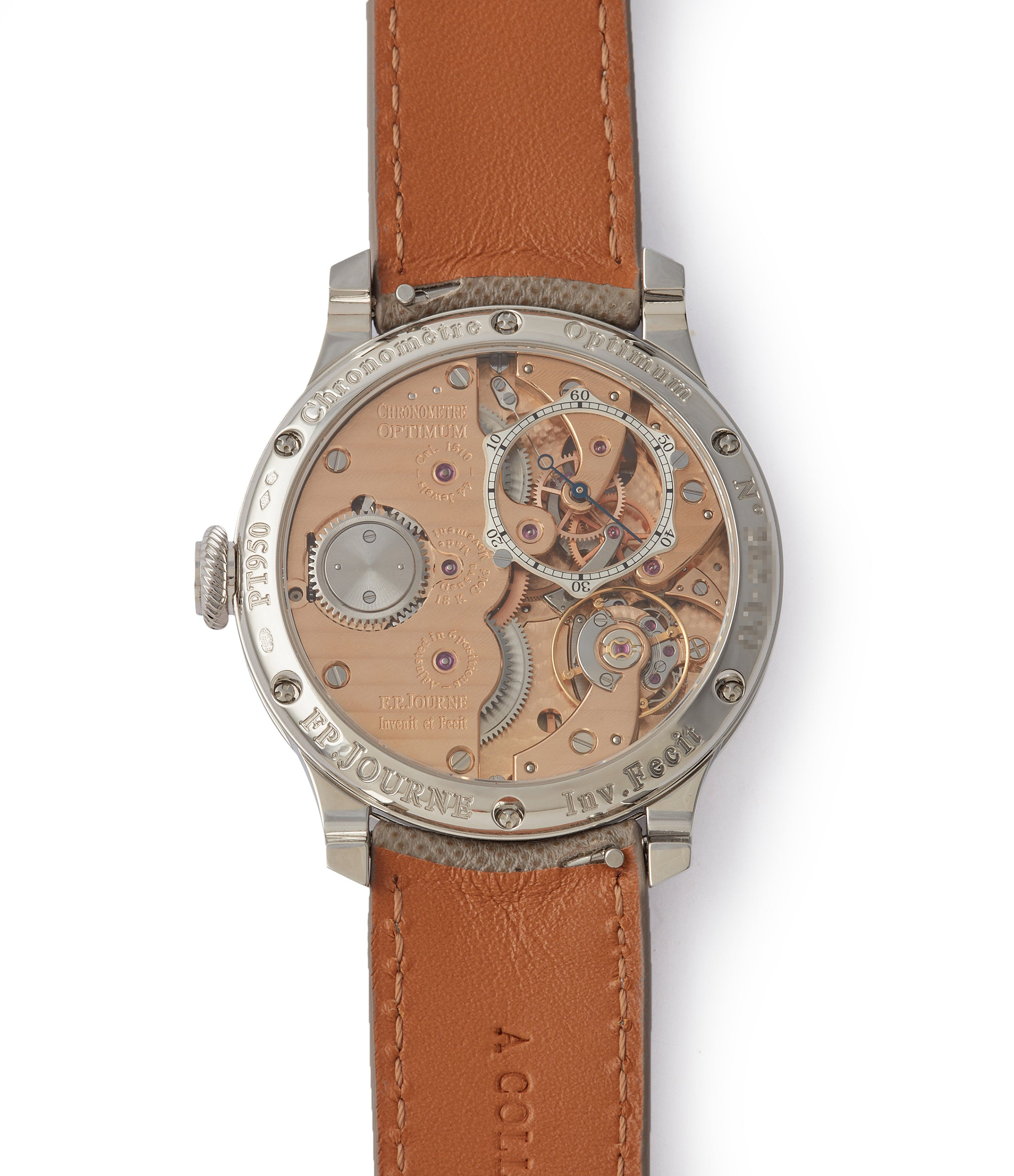 Cal. 1510 manual-winding Journe Chronometre Optimum 40mm platinum pre-owned dress watch for sale at A Collected Man London selling independent watchmakers
