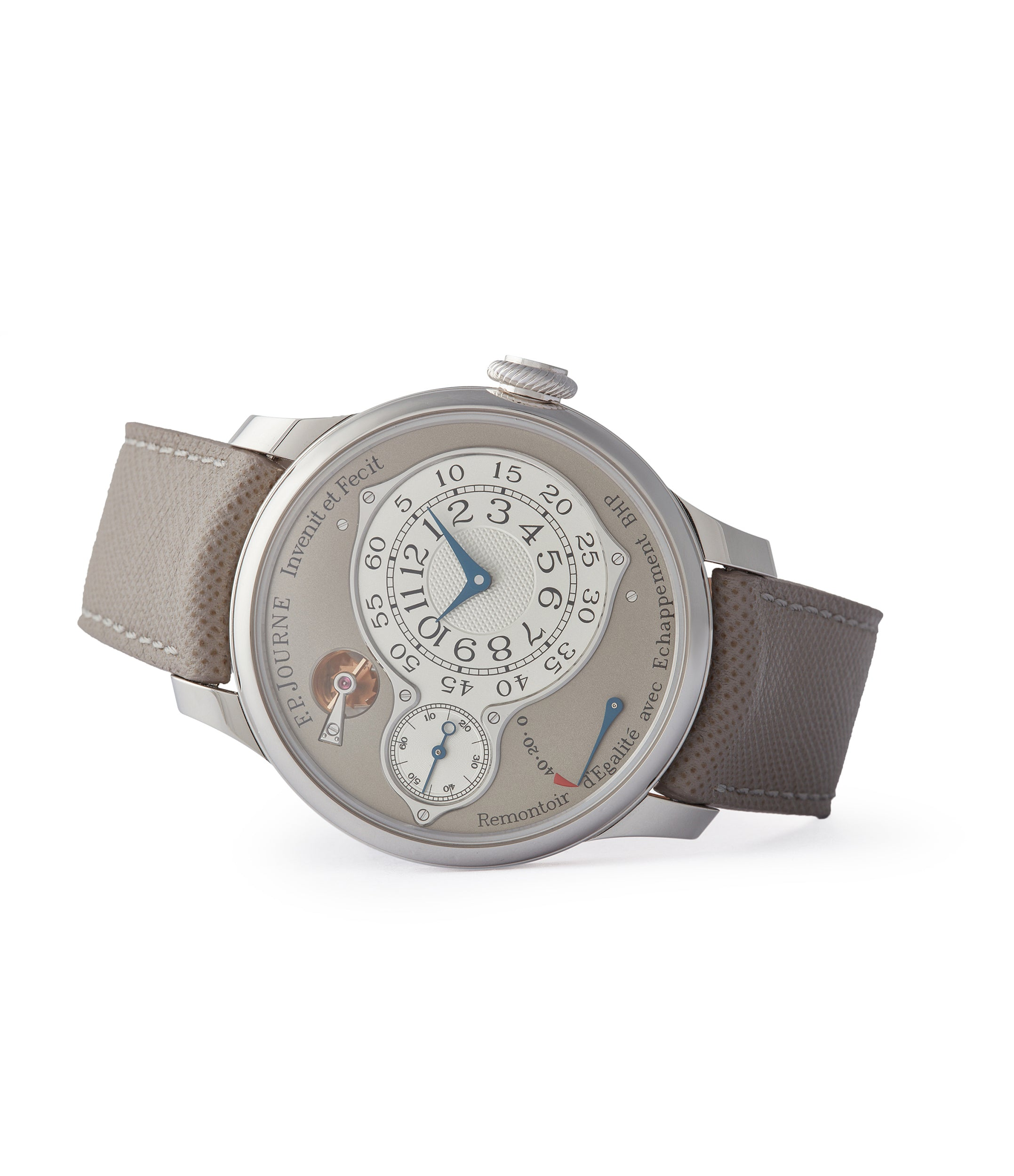 side-shot Journe grey dial Chronometre Optimum 40mm platinum pre-owned dress watch for sale at A Collected Man London selling independent watchmakers