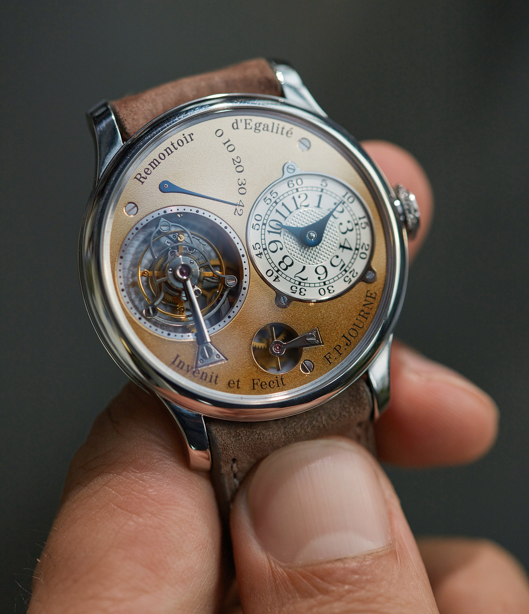 independent watchmaker F. P. Journe early Tourbillon Souverain 38mm platinum brass movement collectable independent watchmaker for sale online at A Collected Man London specialist of rare watches