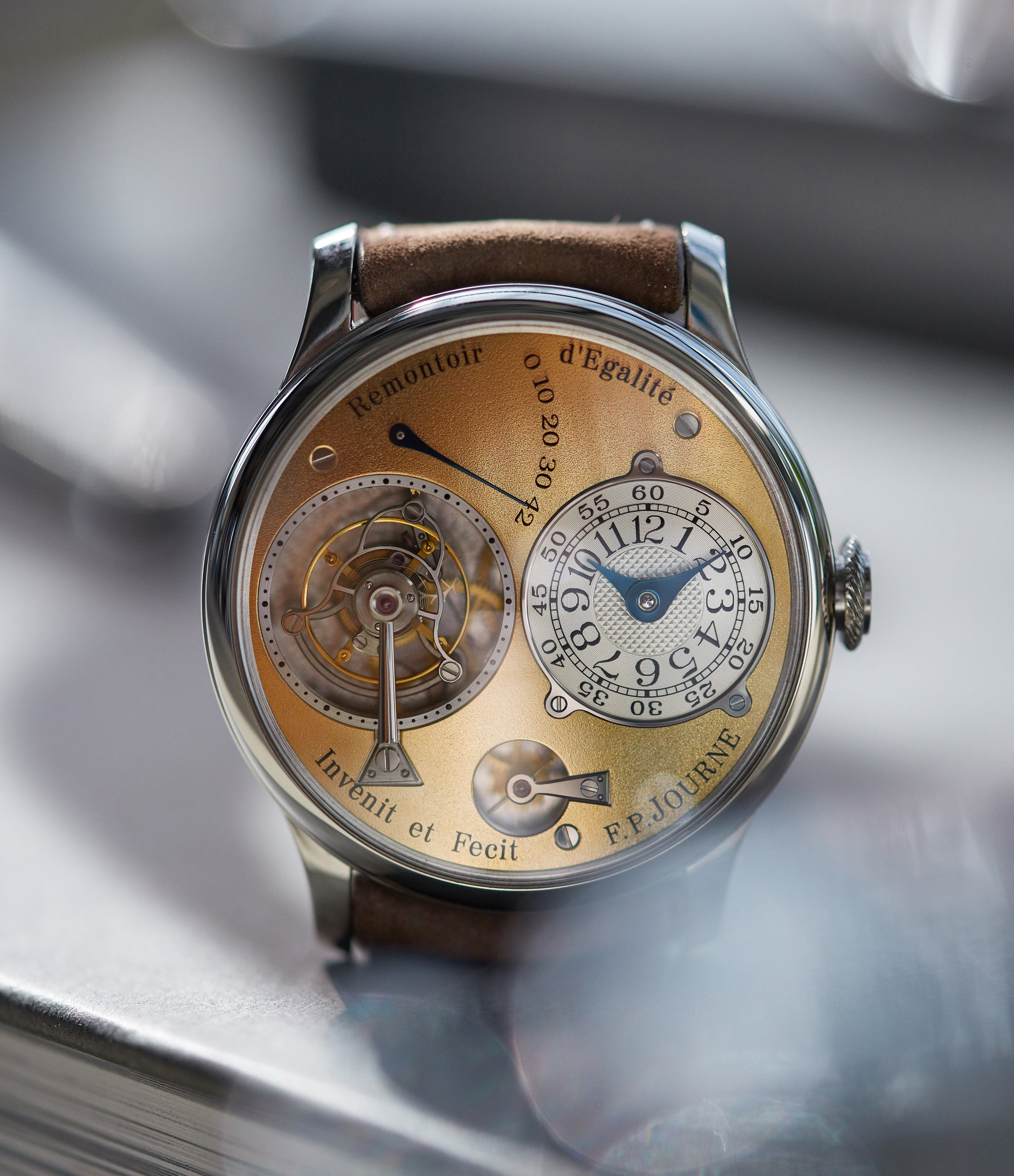 selling F. P. Journe early Tourbillon Souverain 38mm platinum brass movement collectable independent watchmaker for sale online at A Collected Man London specialist of rare watches