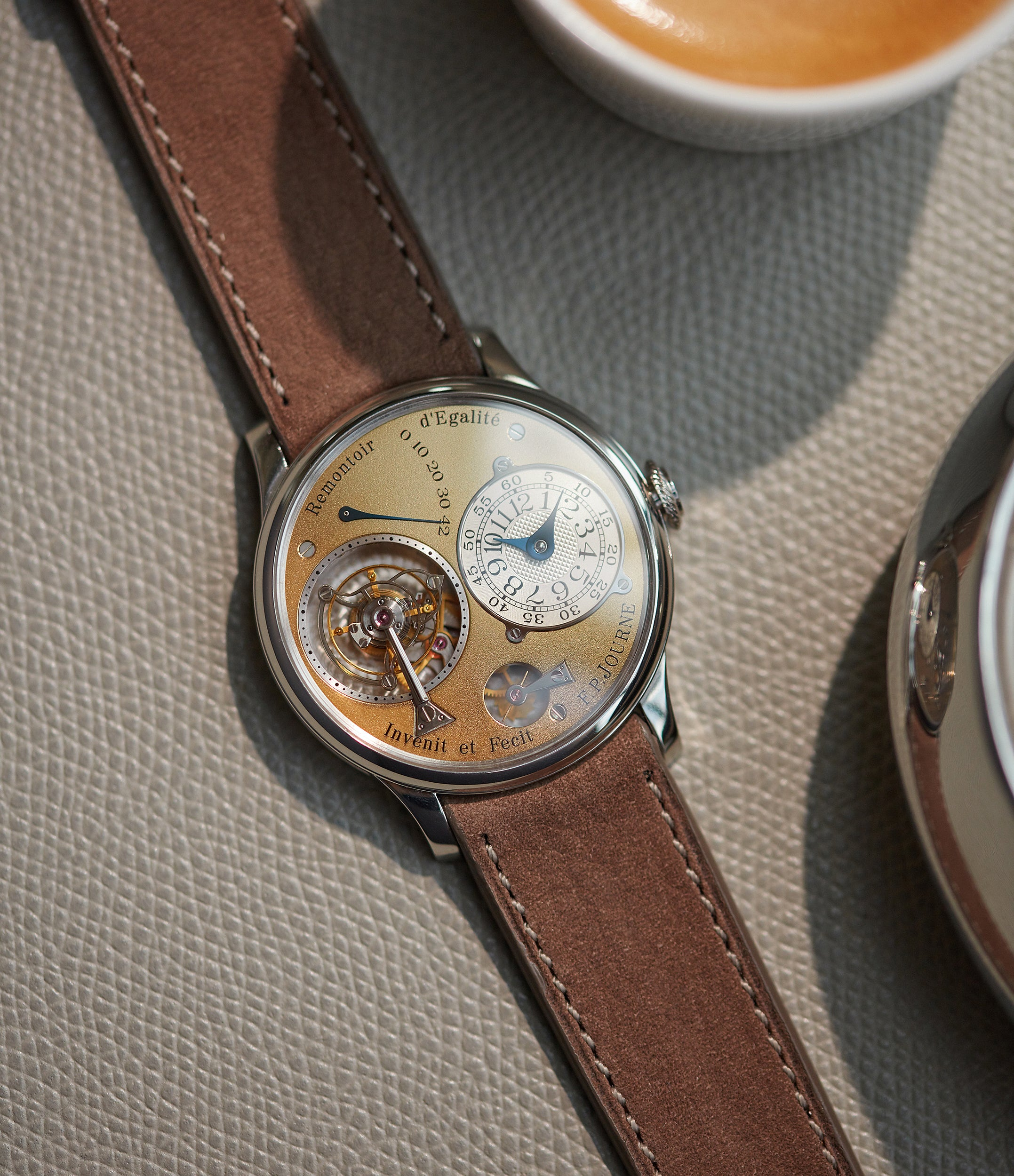 collect early F. P. Journe early Tourbillon Souverain 38mm platinum brass movement collectable independent watchmaker for sale online at A Collected Man London specialist of rare watches