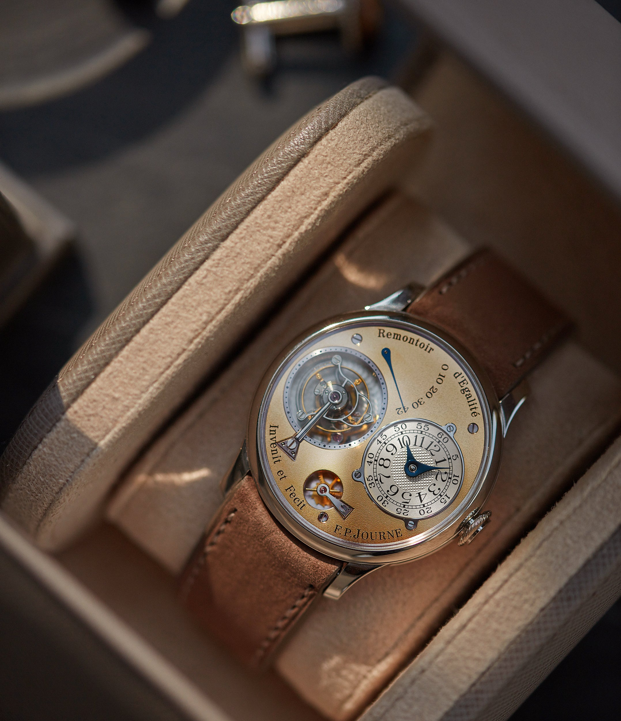 3rd generation F. P. Journe early Tourbillon Souverain 38mm platinum brass movement collectable independent watchmaker for sale online at A Collected Man London specialist of rare watches