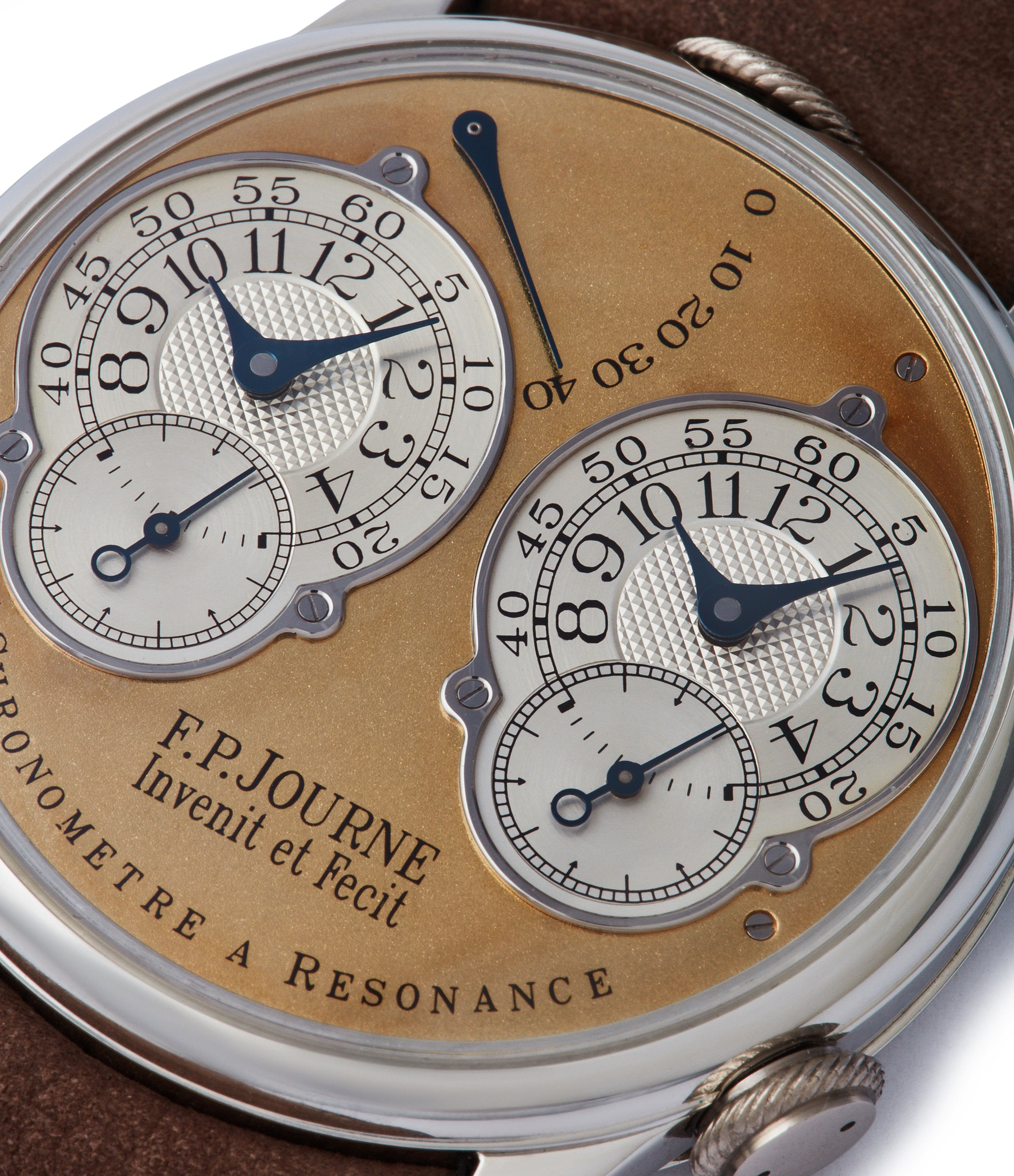 early two-tone twin dial F. P. Journe Pre-Souscription Chronomètre à Résonance 38mm platinum brass movement early independent watchmaker shimmery gold dial watch for sale online at A Collected Man London specialist rare watches