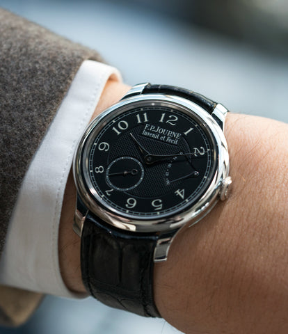on the wrist F. P. Journe Chronometre Souverain Black Label 40 mm platinum for sale online at A Collected Man London online specialist of independent watchmakers