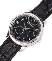 buy rare black dial F. P. Journe Chronometre Souverain Black Label 40 mm platinum for sale online at A Collected Man London online specialist of independent watchmakers