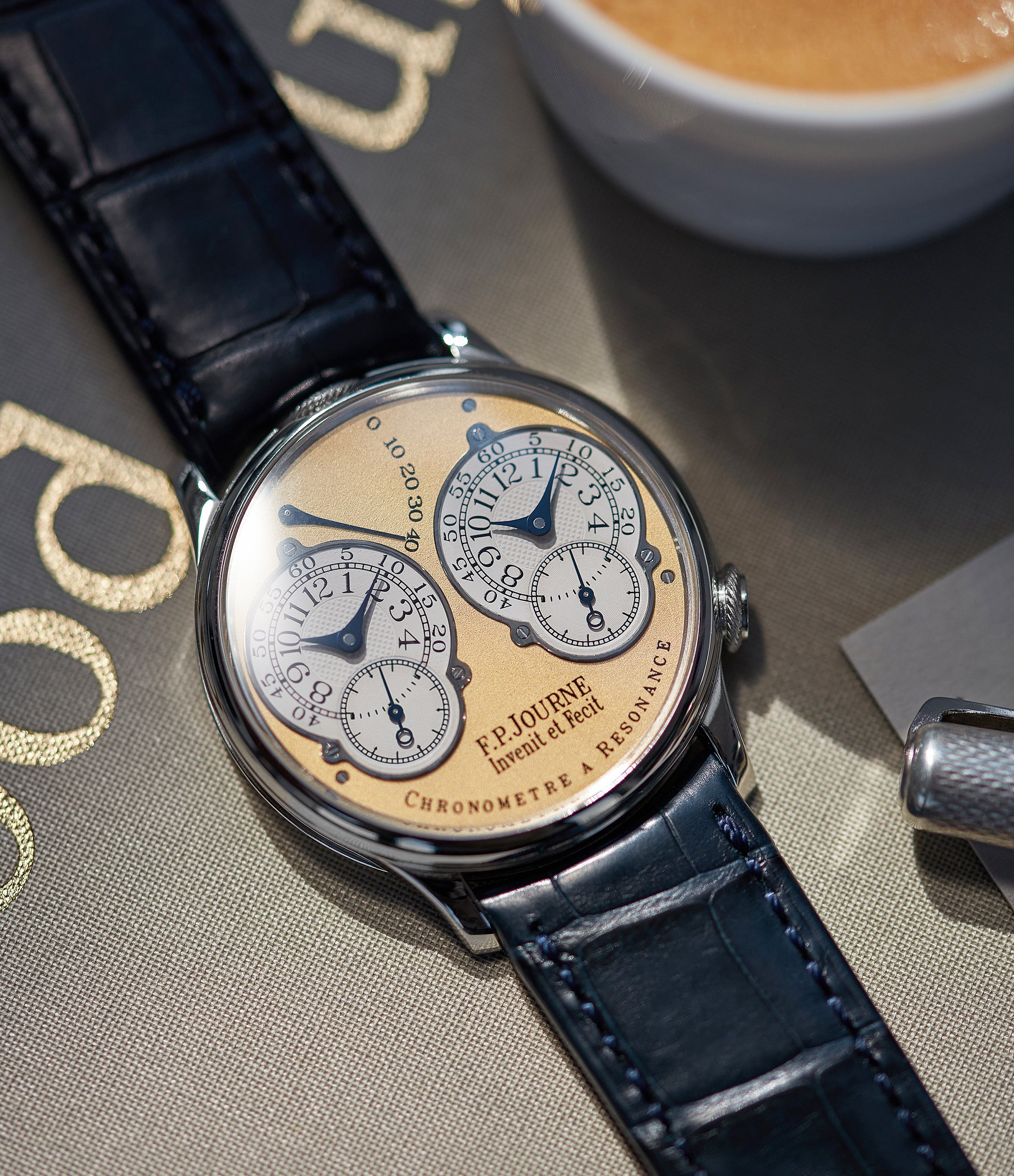sell F. P. Journe Resonance rare 38mm platinum brass movement watch for sale online at A Collected Man London specialist of independent watchmakers