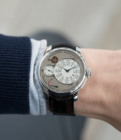 on the wrist F. P. Journe Chronometre Optimum platinum rare watch for sale online at A Collected Man London approved retailer of independent watchmakers