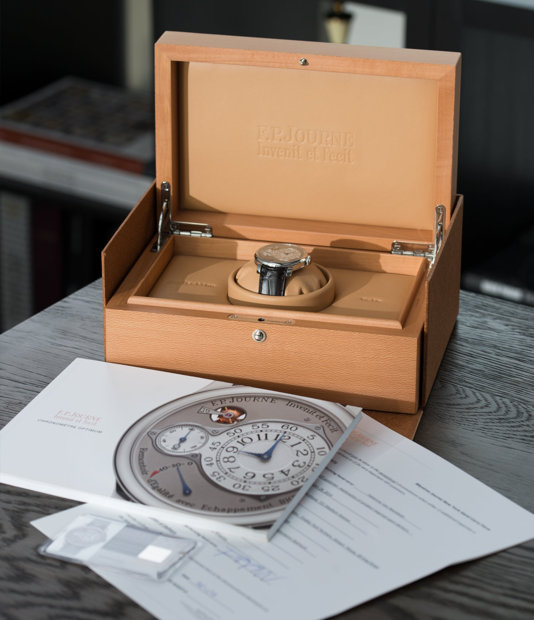 full set F. P. Journe Chronometre Optimum platinum rare watch for sale online at A Collected Man London approved retailer of independent watchmakers