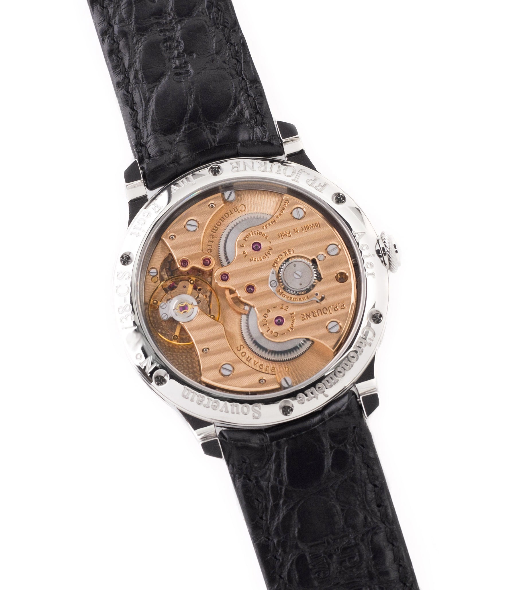 Calibre 1304 manual-winding F. P. Journe Chronomètre Souverain Steel 38 mm Limited Edition Set for sale online at A Collected Man London approved UK retailer independent watchmakers