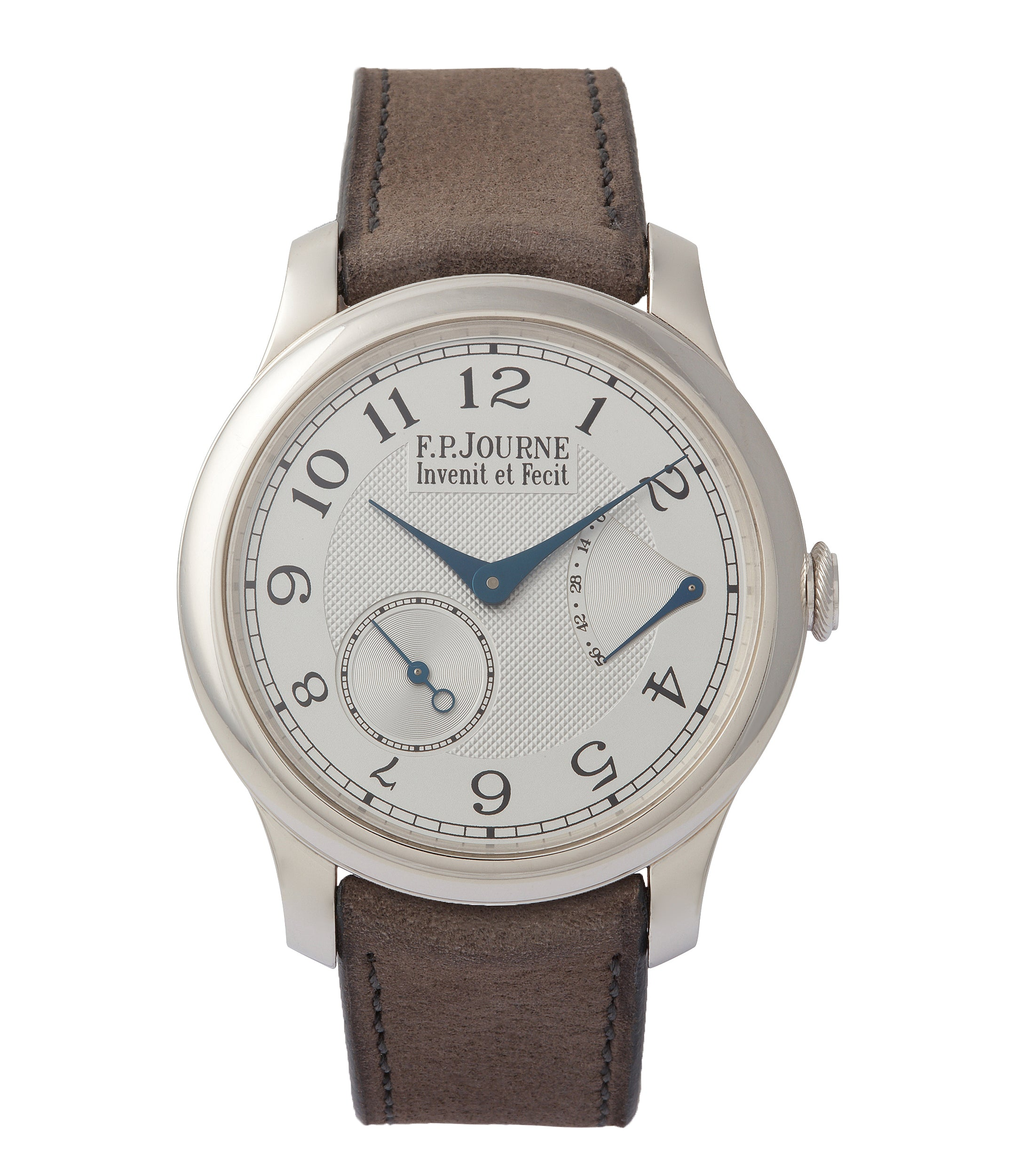 buy F. P. Journe Chronometre Souverain platinum 40mm Cal. 1304 manual-winding silver dial time-only dress watch for sale online at A Collected Man London UK specialist independent watchmakers