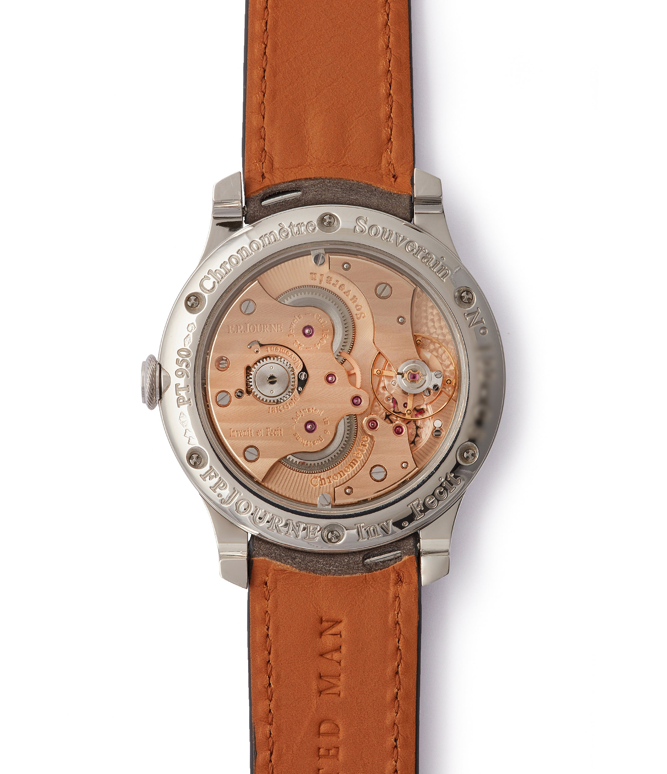 rose gold movement F. P. Journe Chronometre Souverain platinum 40mm Cal. 1304 manual-winding silver dial time-only dress watch for sale online at A Collected Man London UK specialist independent watchmakers