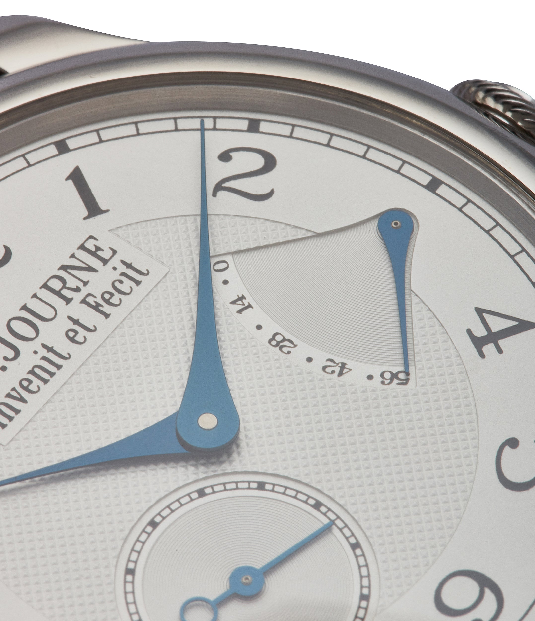 silver guilloche dial Journe Chronometre Souverain platinum 40mm Cal. 1304 manual-winding silver dial time-only dress watch for sale online at A Collected Man London UK specialist independent watchmakers