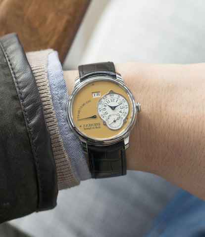 on the wrist F. P. Journe Octa Automatique 38 mm steel limited edition dress watch for sale online at A Collected Man London UK approved seller of independent watchmakers