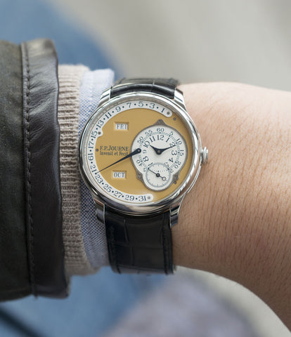 on the wrist F. P. Journe Octa Calendrier Steel 38 mm Limited Edition Set for sale online at A Collected Man London approved UK seller of independent watchmakers
