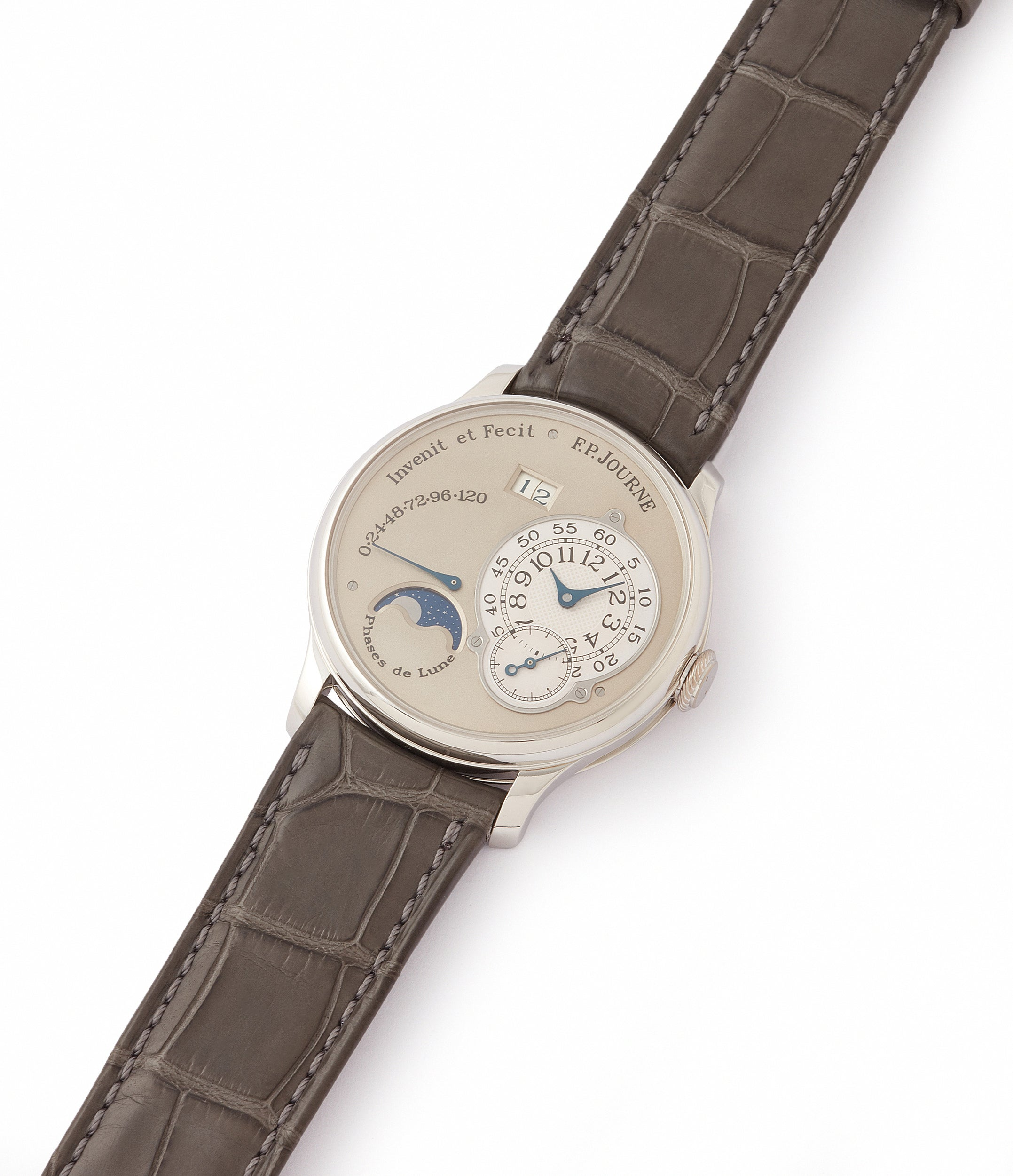 shop F. P. Journe Octa Lune 061-03L early brass movement platinum rare watch for sale online at A Collected Man London specialist of independent watchmakers