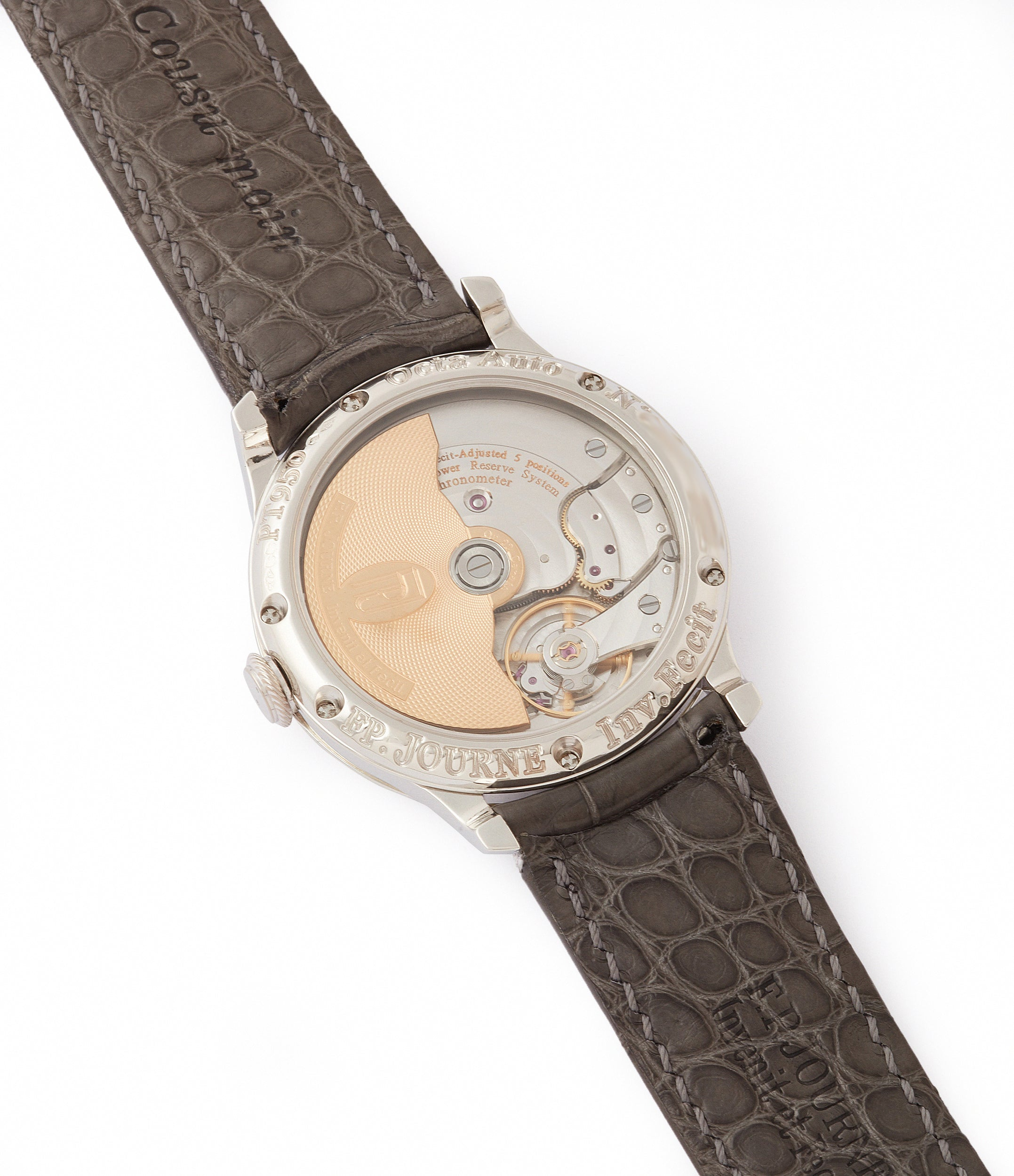 1300.3 calibre early brass movement F. P. Journe Octa Lune 061-03L platinum rare watch for sale online at A Collected Man London specialist of independent watchmakers