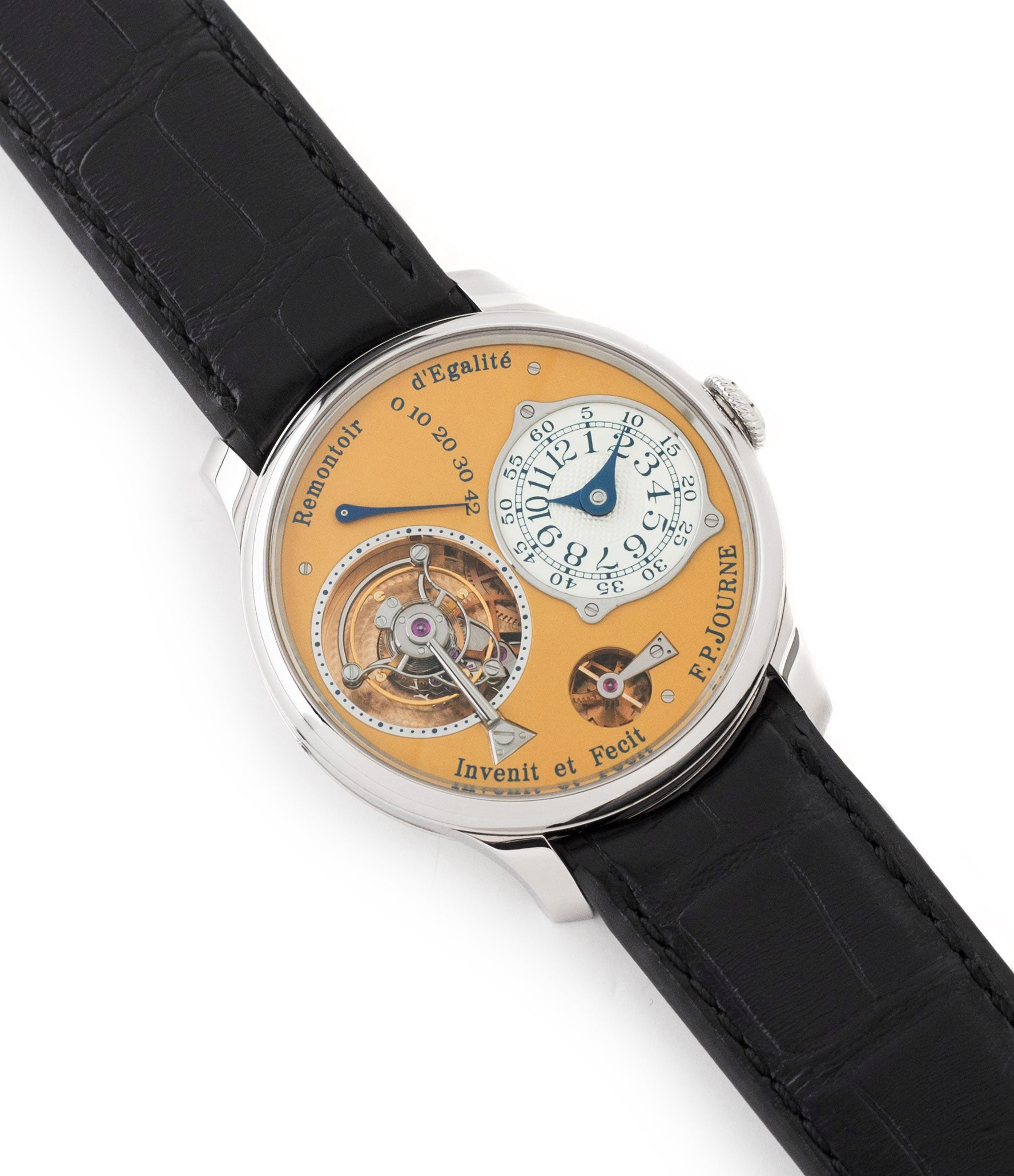 buy preowned F. P. Journe Tourbillon Souverain 38 mm steel dress watch for sale online at A Collected Man London UK approved seller of independent watchmakers