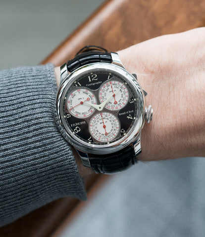 on the wrist F. P. Journe Centigraphe Souverain Black Label 40 mm platinum pre-owned rare watch for sale online at A Collected Man London approved retailer of independent watchmakers
