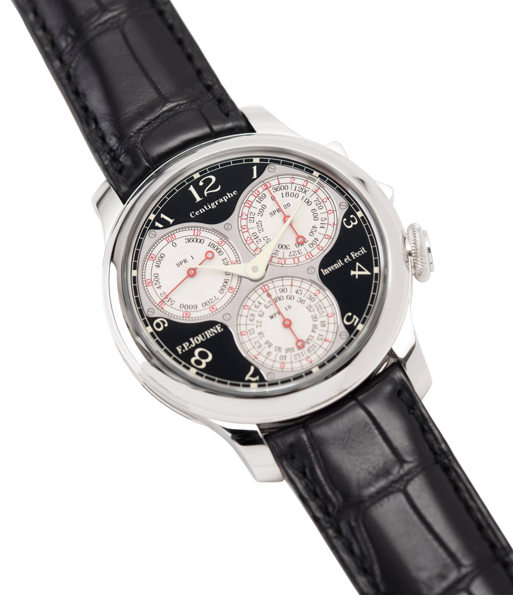 shop F. P. Journe Centigraphe Souverain Black Label 40 mm platinum pre-owned rare watch for sale online at A Collected Man London approved retailer of independent watchmakers