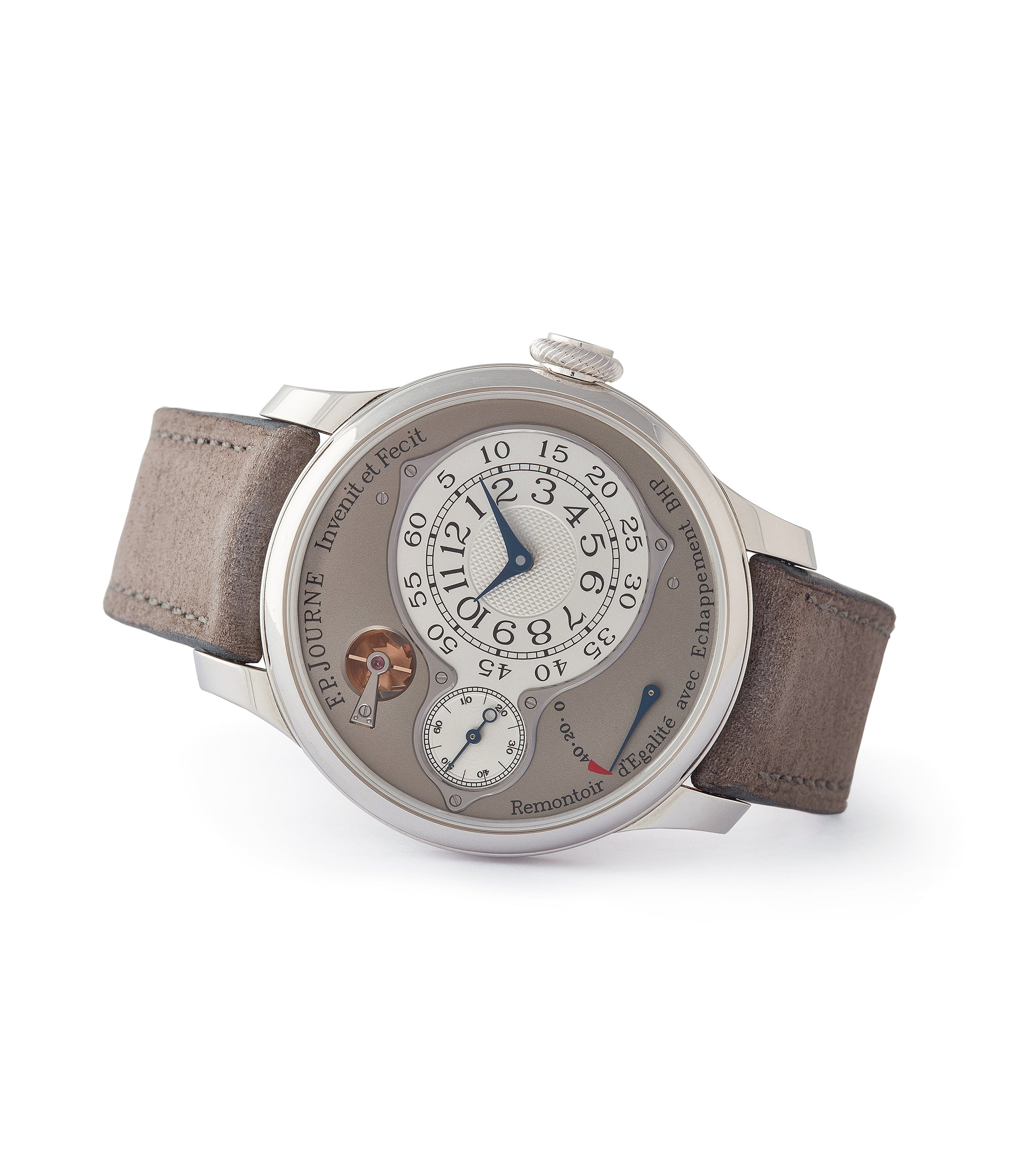 side-shot independent watchmaker F. P. Journe Chronometre Optimum grey dial time-only dress watch for sale online at A Collected Man London UK specialist rare watches