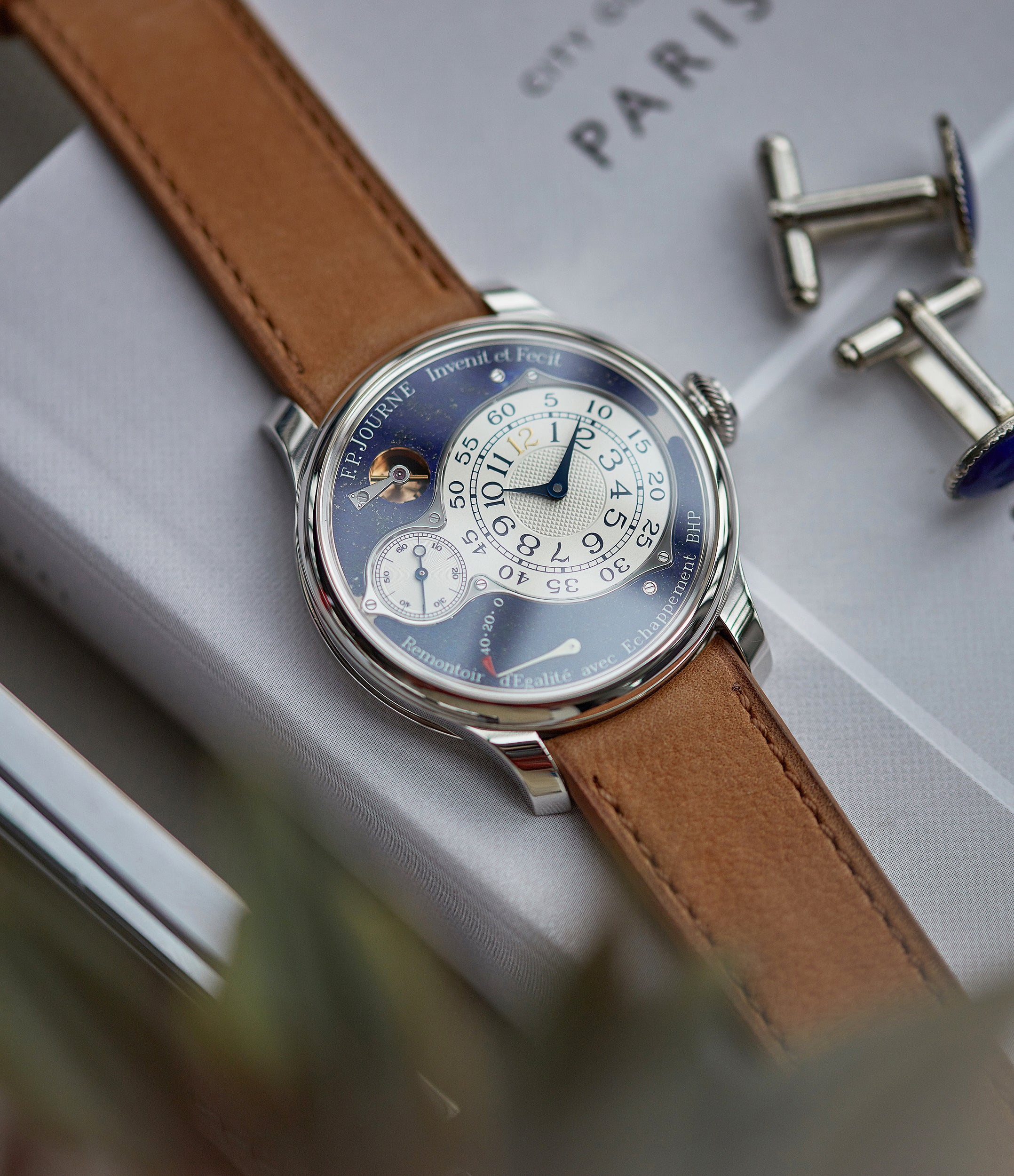 independent watchmaker F. P. Journe Chronometre Optimum Lapis Lazuli blue stone dial dress watch for sale A Collected Man London UK specialist independent watchmaker