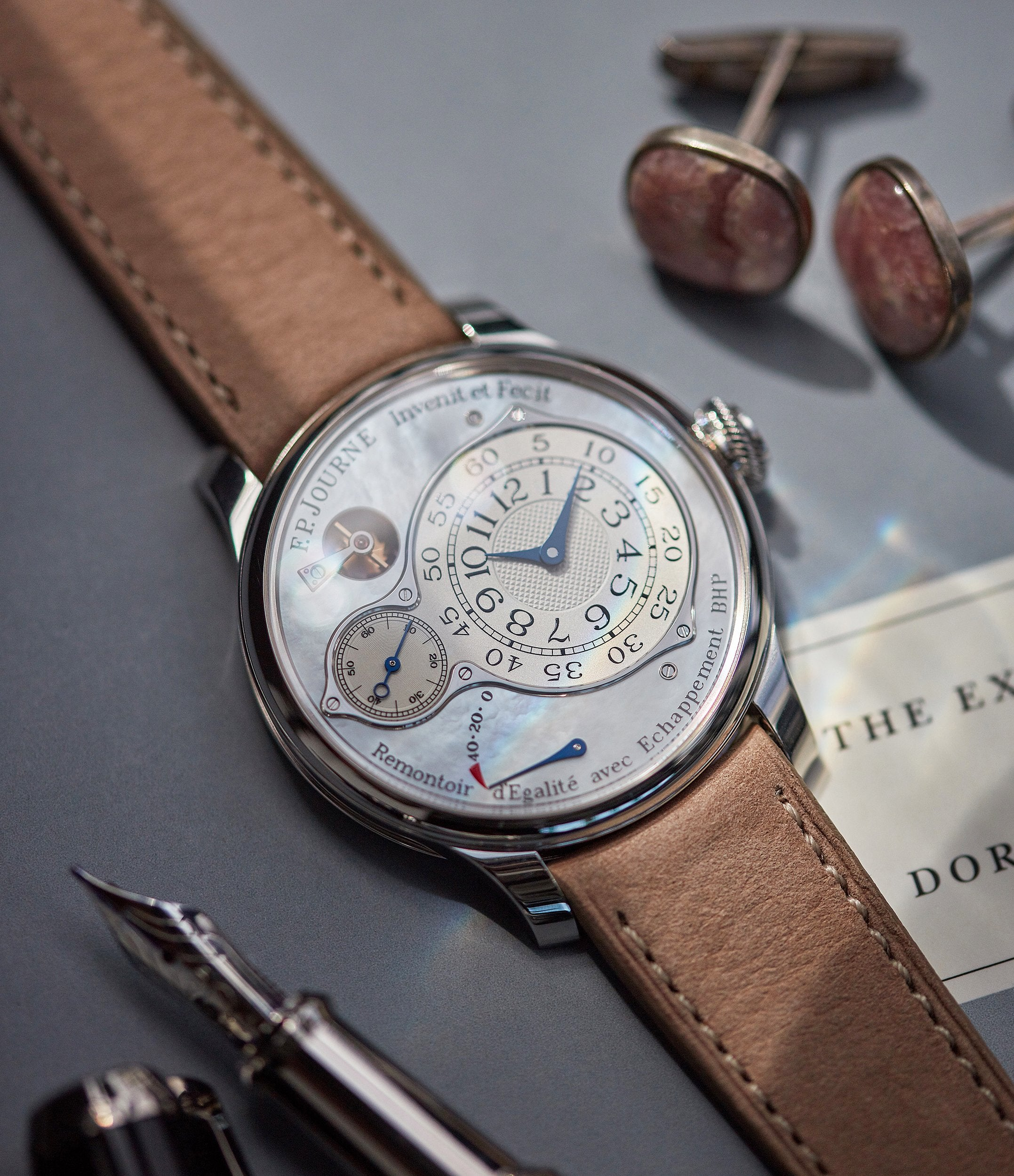 selling F. P. Journe Chronometre Optimum pearl dial platinum dress watch independent watchmaker for sale online A Collected Man London UK specialist rare watches