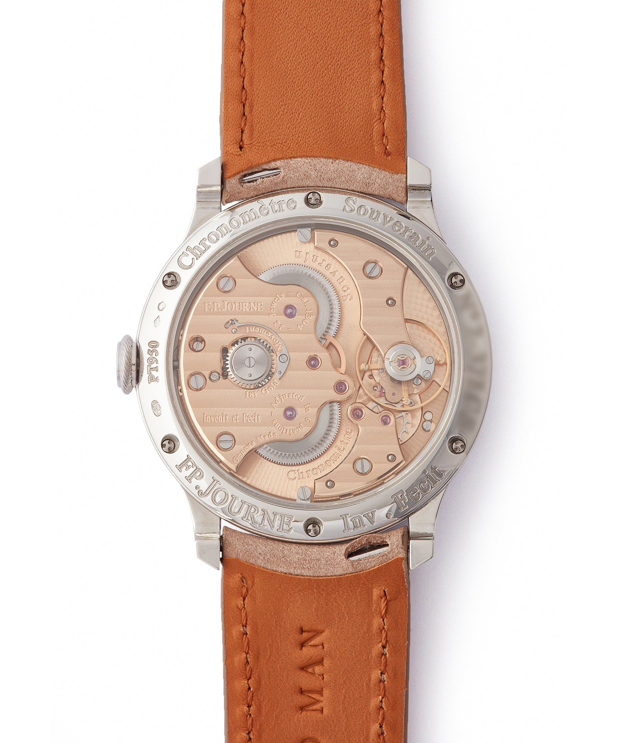 rose gold 1304 F. P. Journe Chronometre Souverain 38mm platinum silver custom dial for sale online at A Collected Man London UK specialist of independent watchmakers