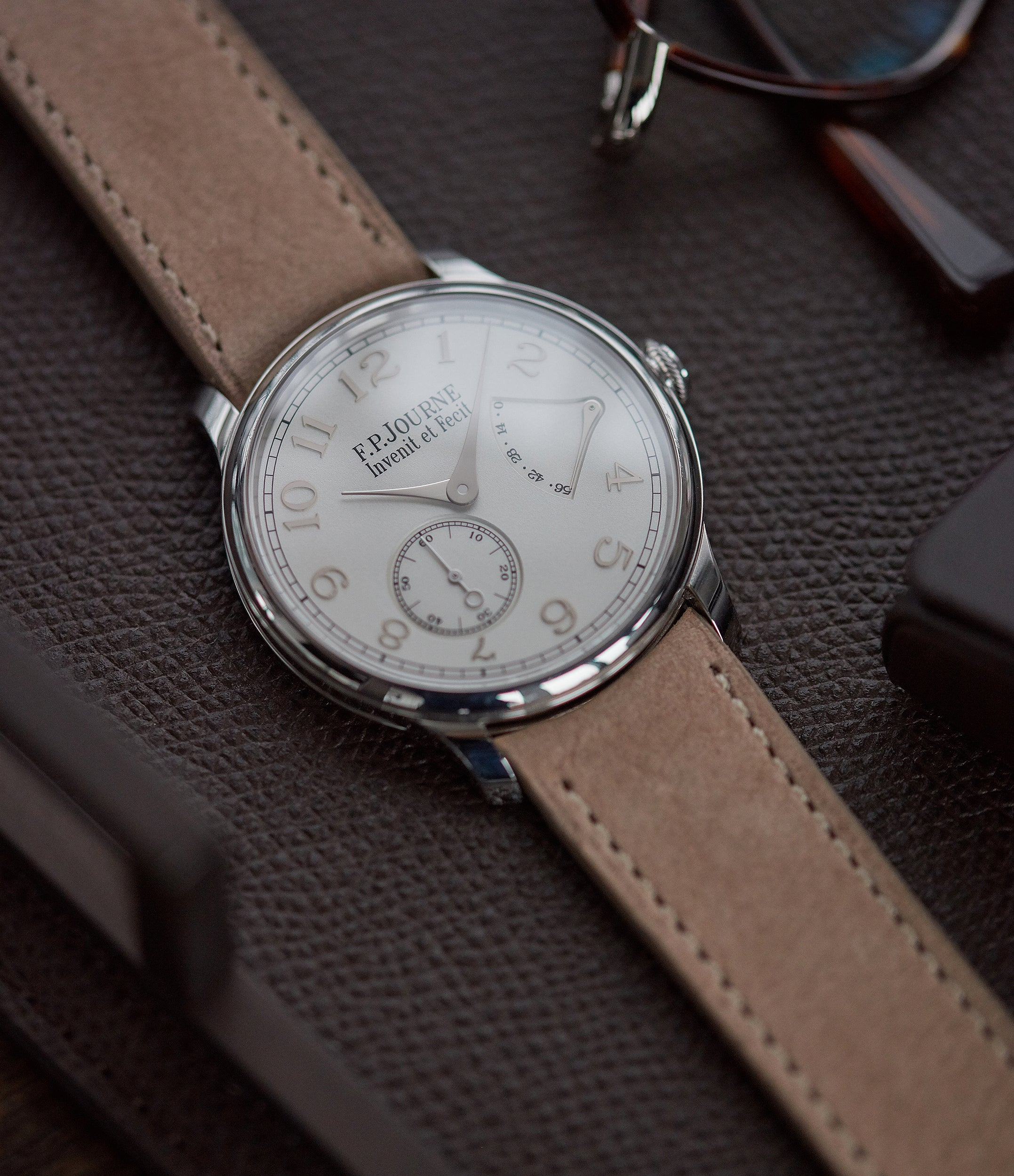 F. P. Journe Chronometre Souverain 38mm platinum silver custom dial for sale online at A Collected Man London UK specialist of independent watchmakers