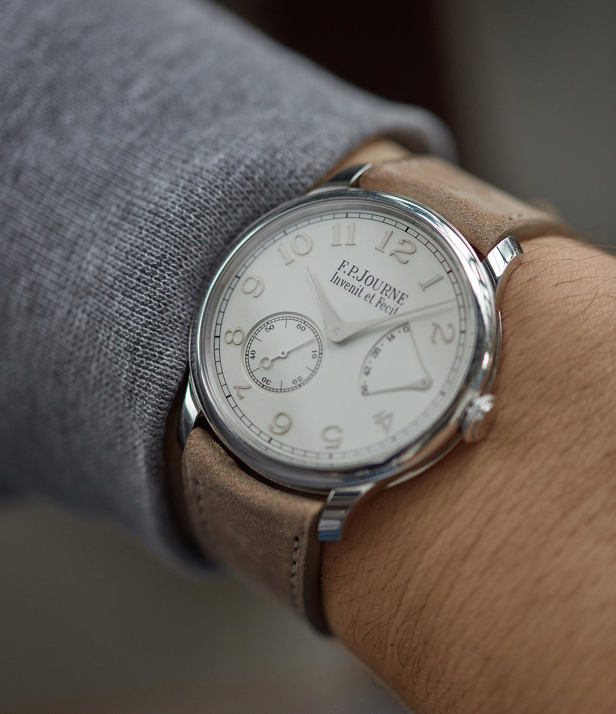 on the wrist F. P. Journe Chronometre Souverain 38mm platinum silver custom dial for sale online at A Collected Man London UK specialist of independent watchmakers