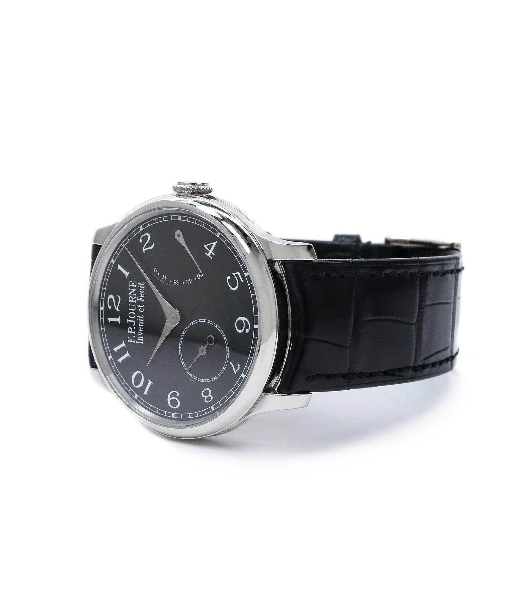 dress watch F. P. Journe Chronometre Souverain Black label platinum 38 mm watch online at A Collected Man