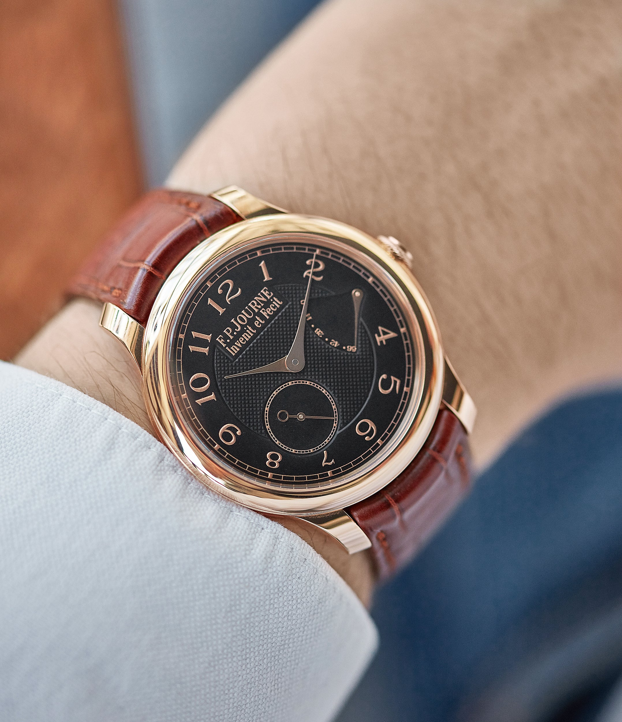 men's dress watch Boutique Edition Journe Chronometre Souverain red gold black dial rare watch independent watchmaker for sale online at A Collected Man London UK specialist of rare watches