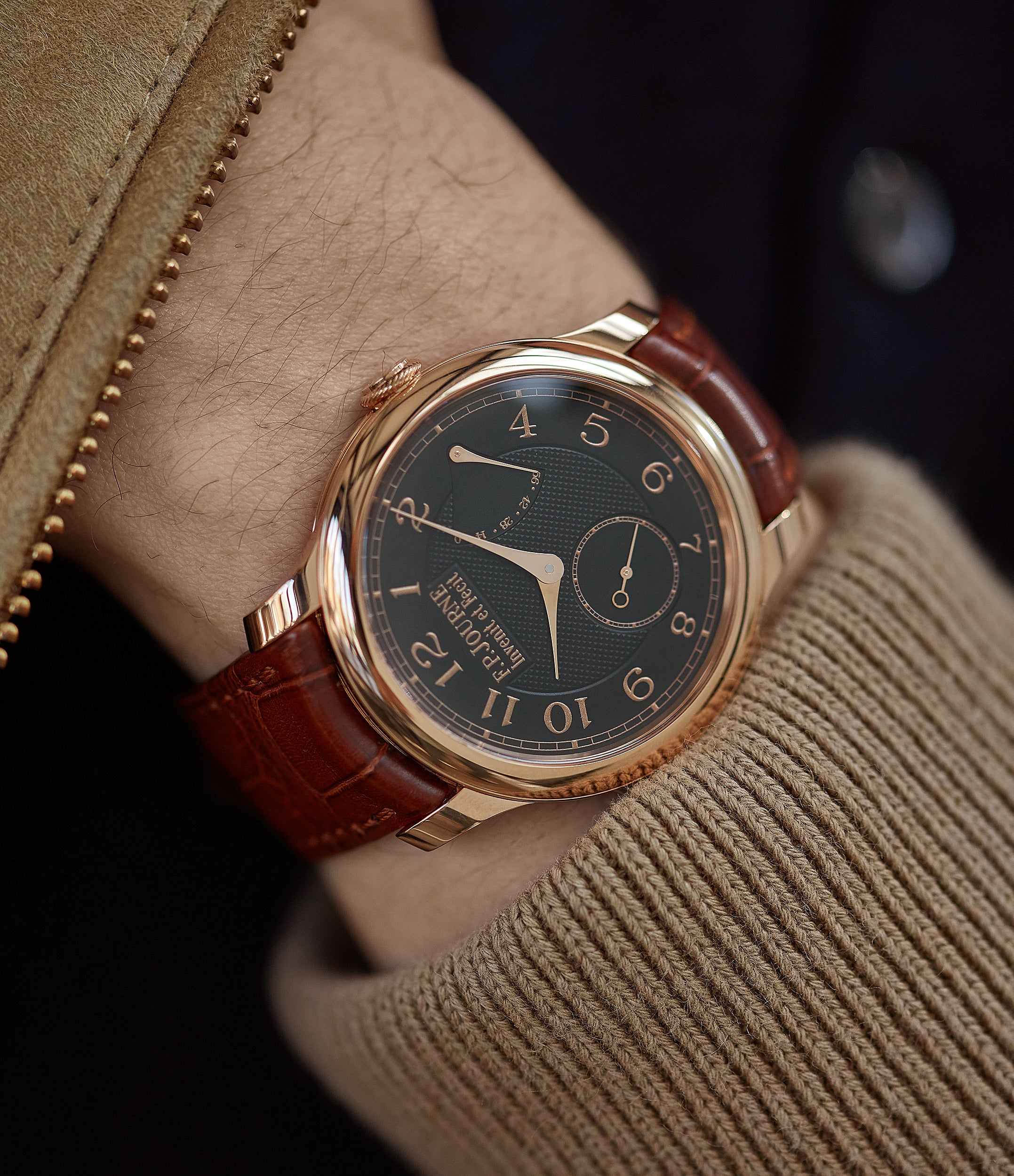 on the wrist F. P. Journe Boutique Edition Chronometre Souverain red gold black dial rare watch independent watchmaker for sale online at A Collected Man London UK specialist of rare watches