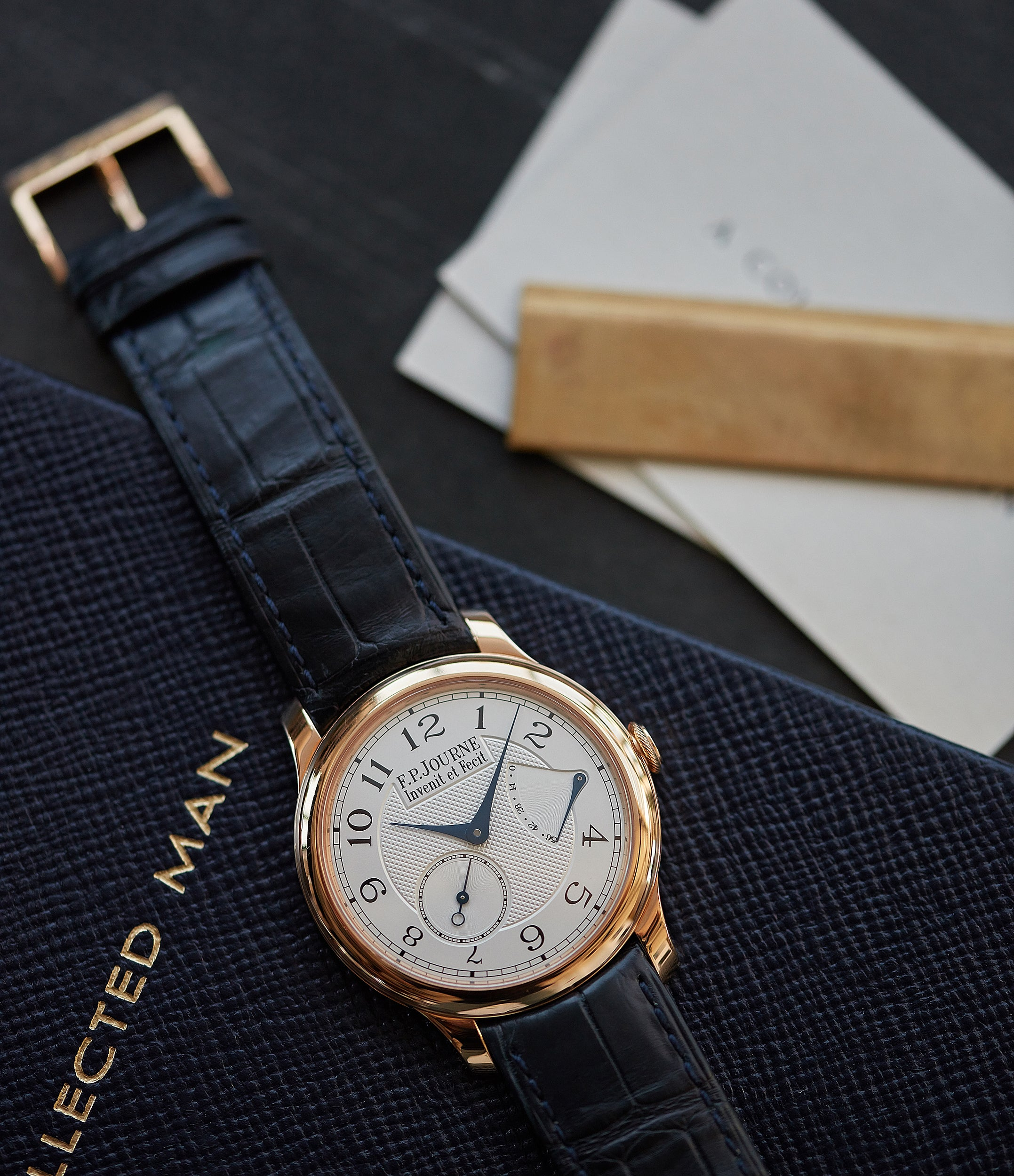 shop F. P. Journe Chronometre Souverain silver dial rose gold dress watch for sale online at A Collected Man London UK specialist of independent watchmakers