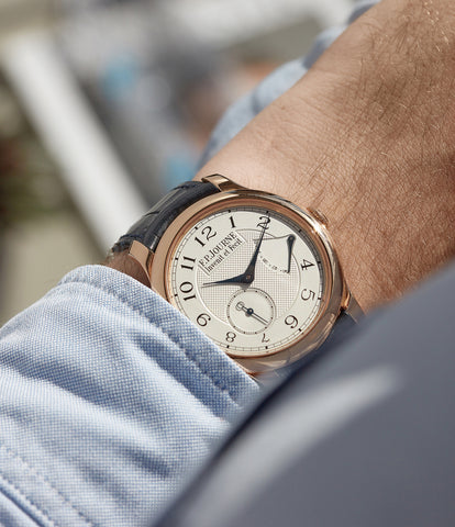 on the wrist F. P. Journe Chronometre Souverain silver dial rose gold dress watch for sale online at A Collected Man London UK specialist of independent watchmakers