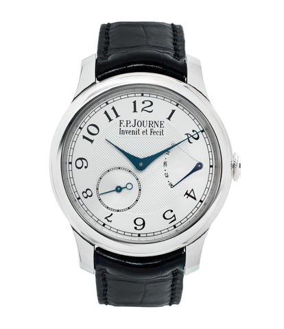 buy preowned F. P. Journe Chronometre Souverain platinum watch silver dial online at A Collected Man London specialist retailer of independent watchmakers in UK