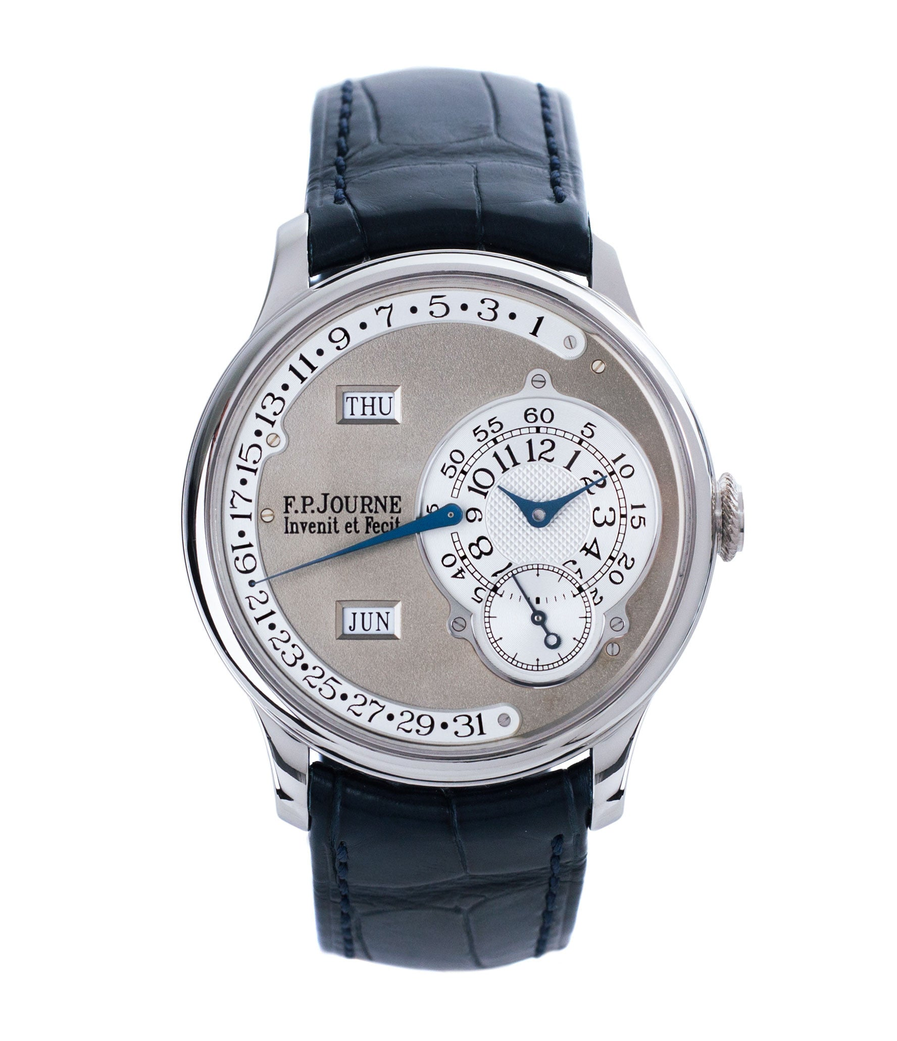 buy F. P. Journe Octa Calendrier early brass movement 38mm platinum full set preowned dress luxury watch for sale online at A Collected Man London independent watch specialist