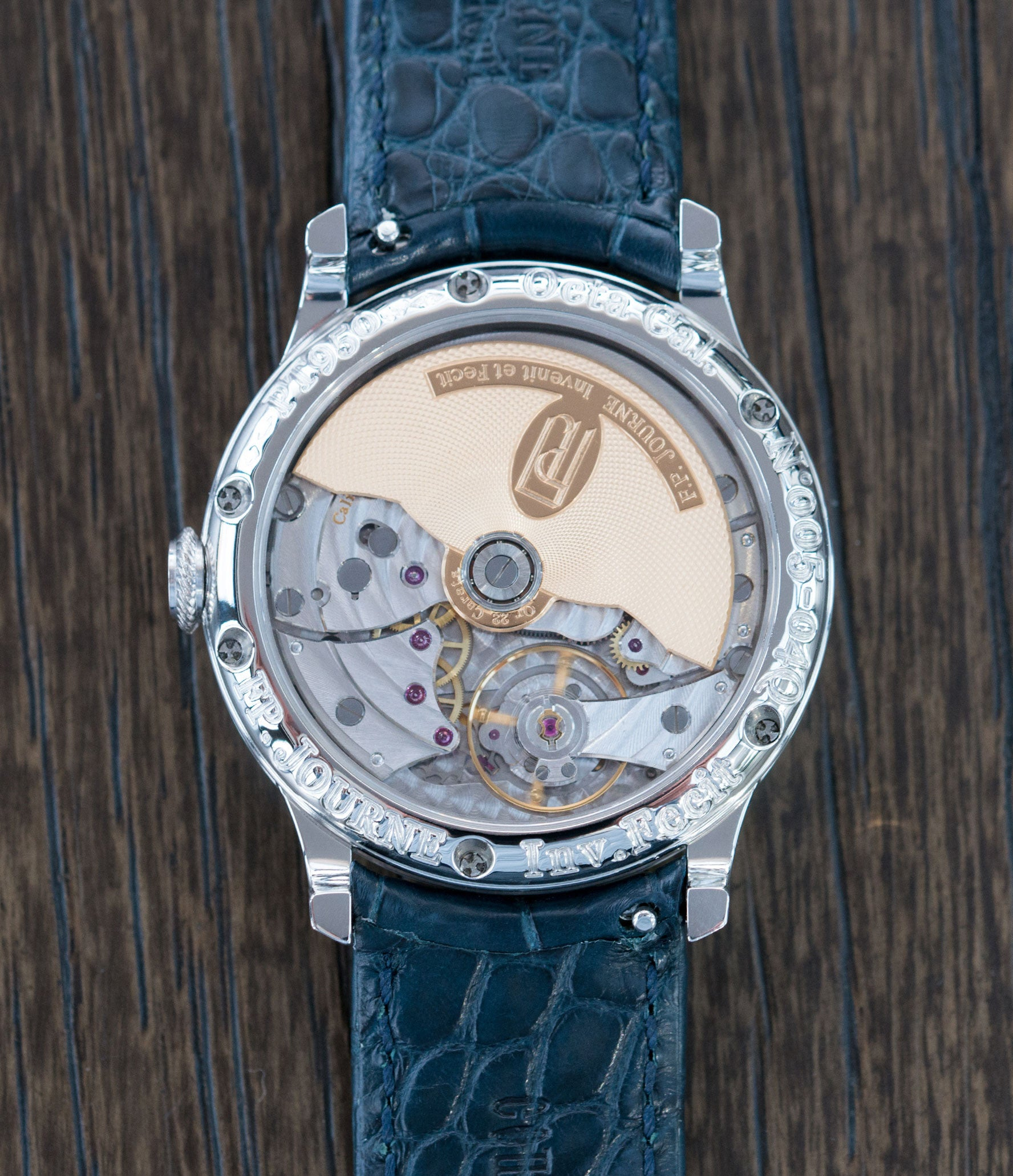 buy brass movement F. P. Journe Octa Calendrier early 38mm platinum full set preowned dress luxury watch for sale online at A Collected Man London independent watch specialist