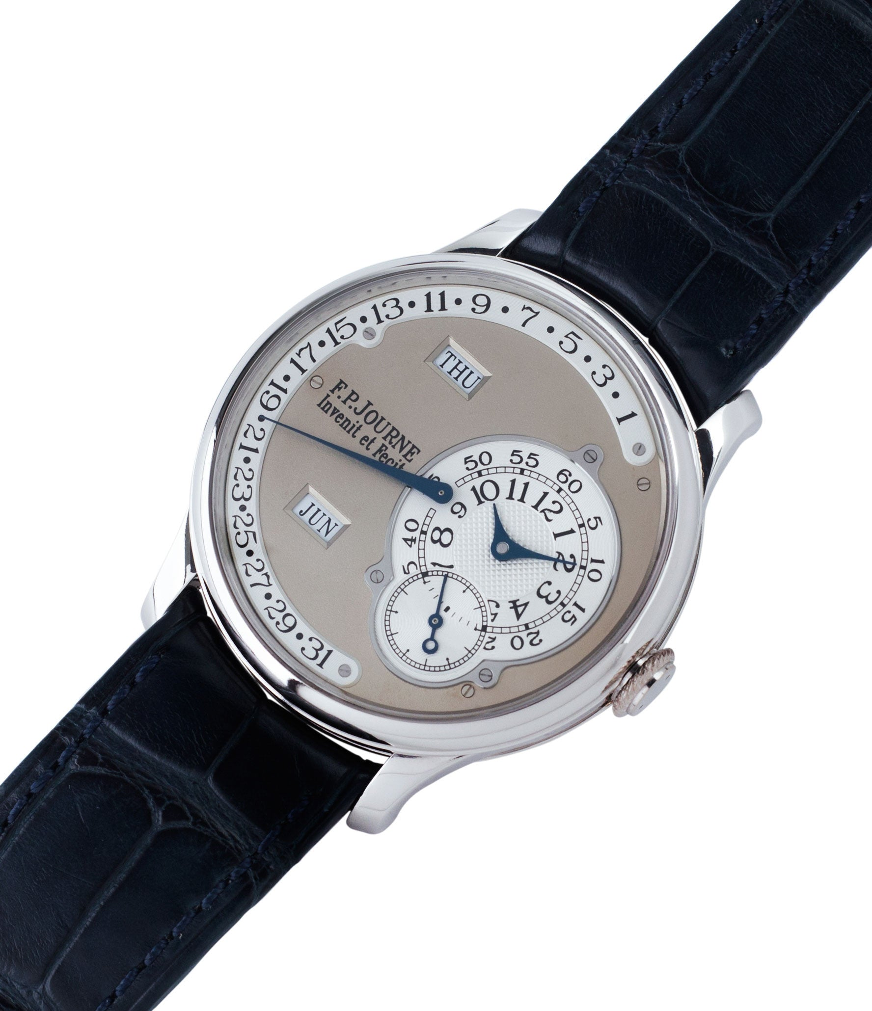 buy preowned F. P. Journe Octa Calendrier early brass movement 38mm platinum full set dress luxury watch for sale online at A Collected Man London independent watch specialist