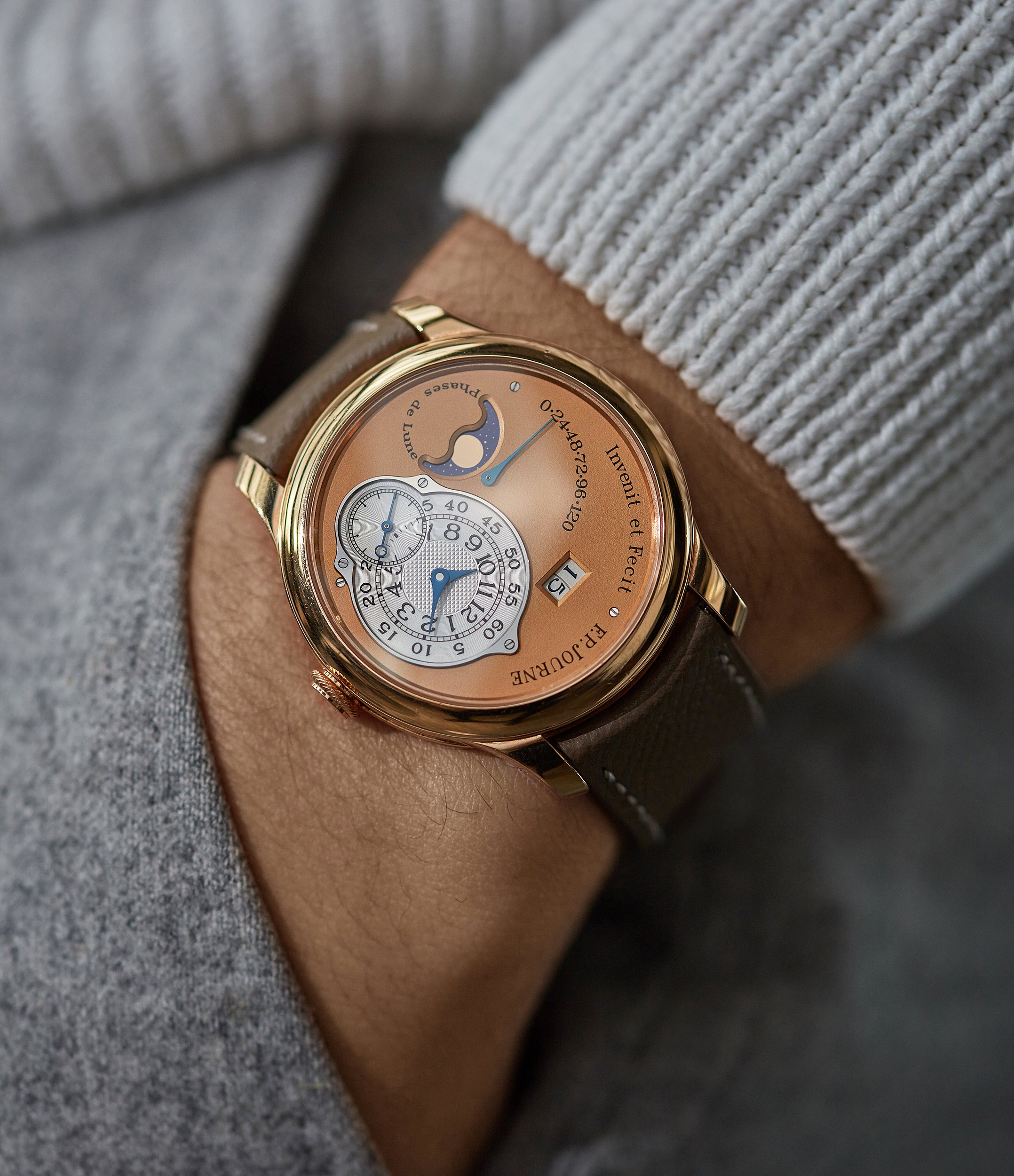 men's luxury wristwatch F. P. Journe Octa Lune rose gold dial rare pre-owned watch independent watchmaker for sale online A Collected Man London