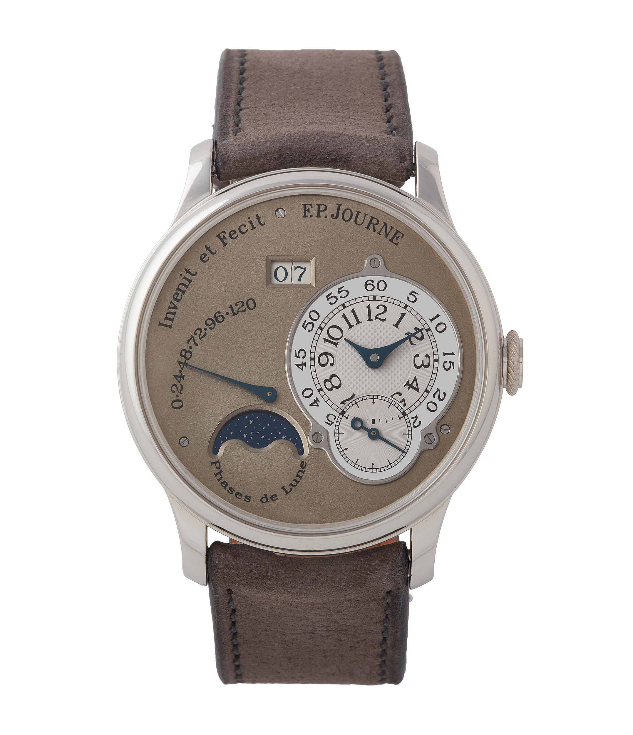 buy F. P. Journe Octa Lune brass movement 38mm platinum independent watchmaker for sale online at A Collected Man London