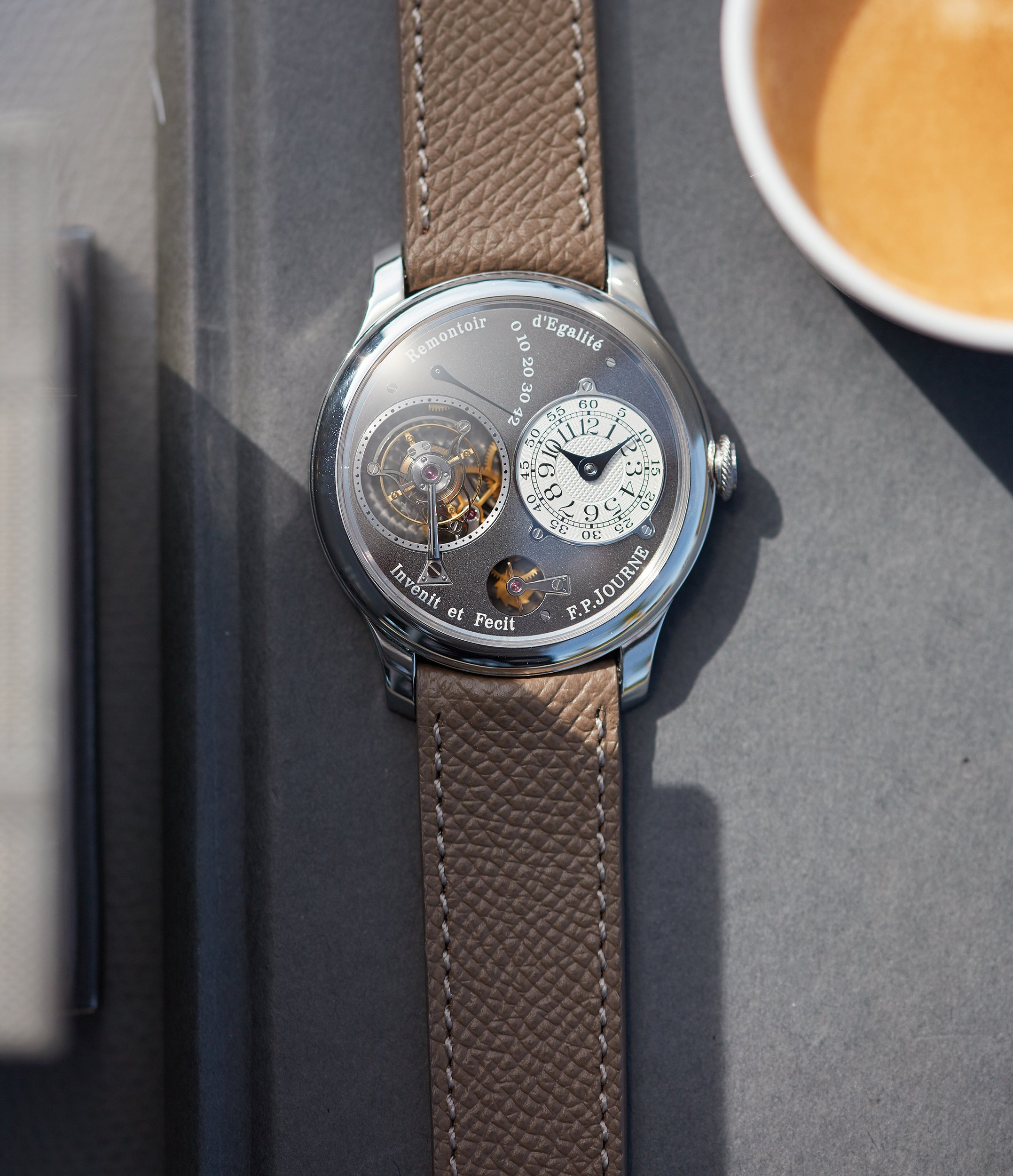 for sale F. P. Journe Tourbillon Remontoire Souverain rhutenium dial brass movement pre-owned watch at A Collected Man London specialist independent watchmakers